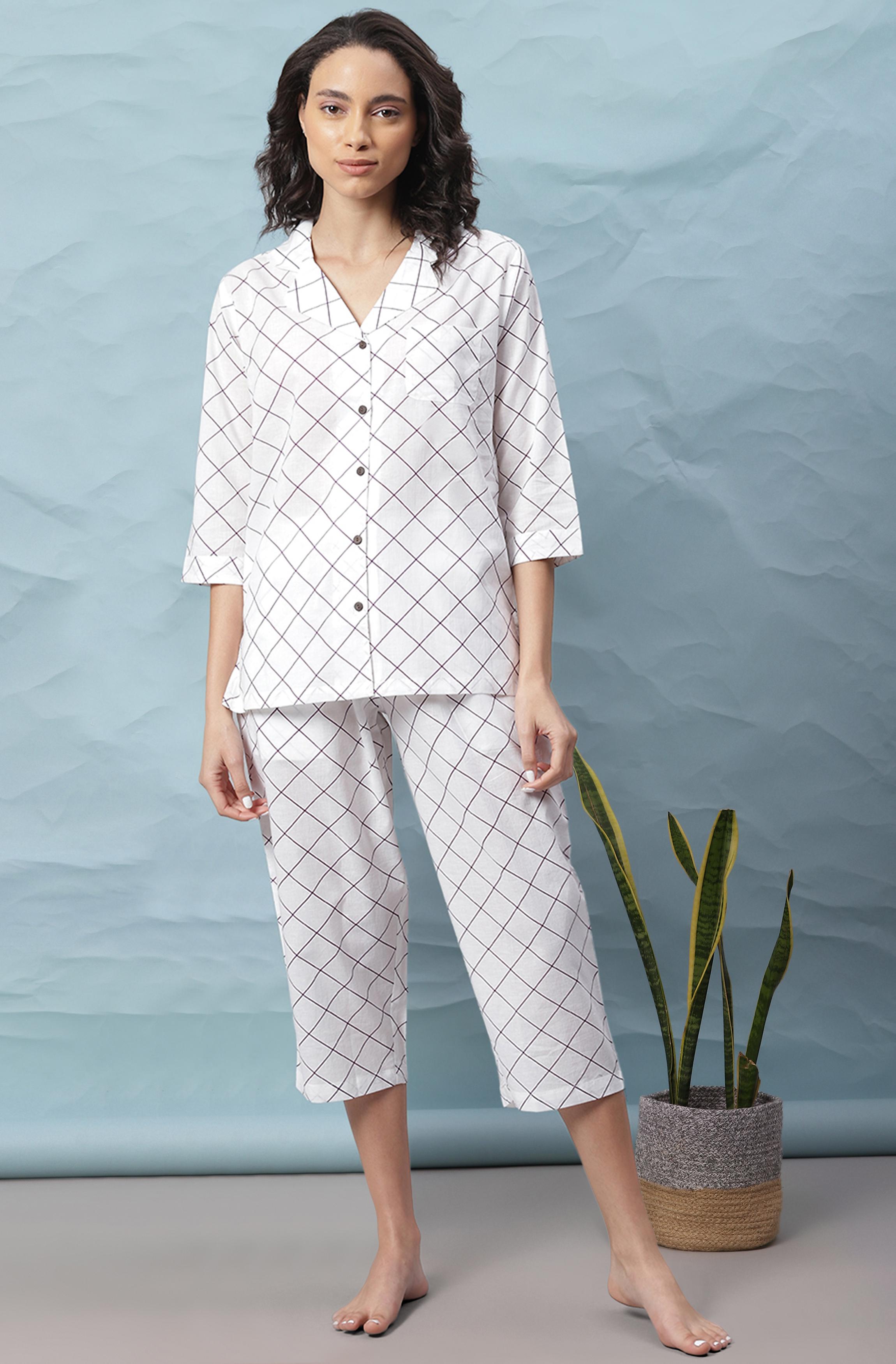 Janasya   Janasya Women's White Cotton Night Suit Set