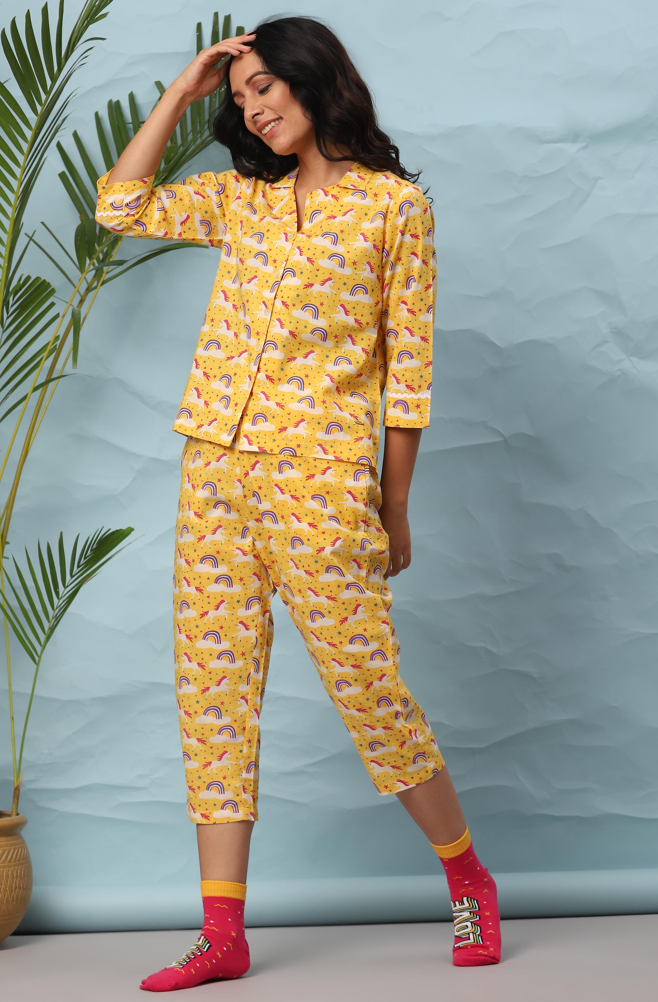 Janasya | Janasya Women's Yellow Cotton Night Suit Set