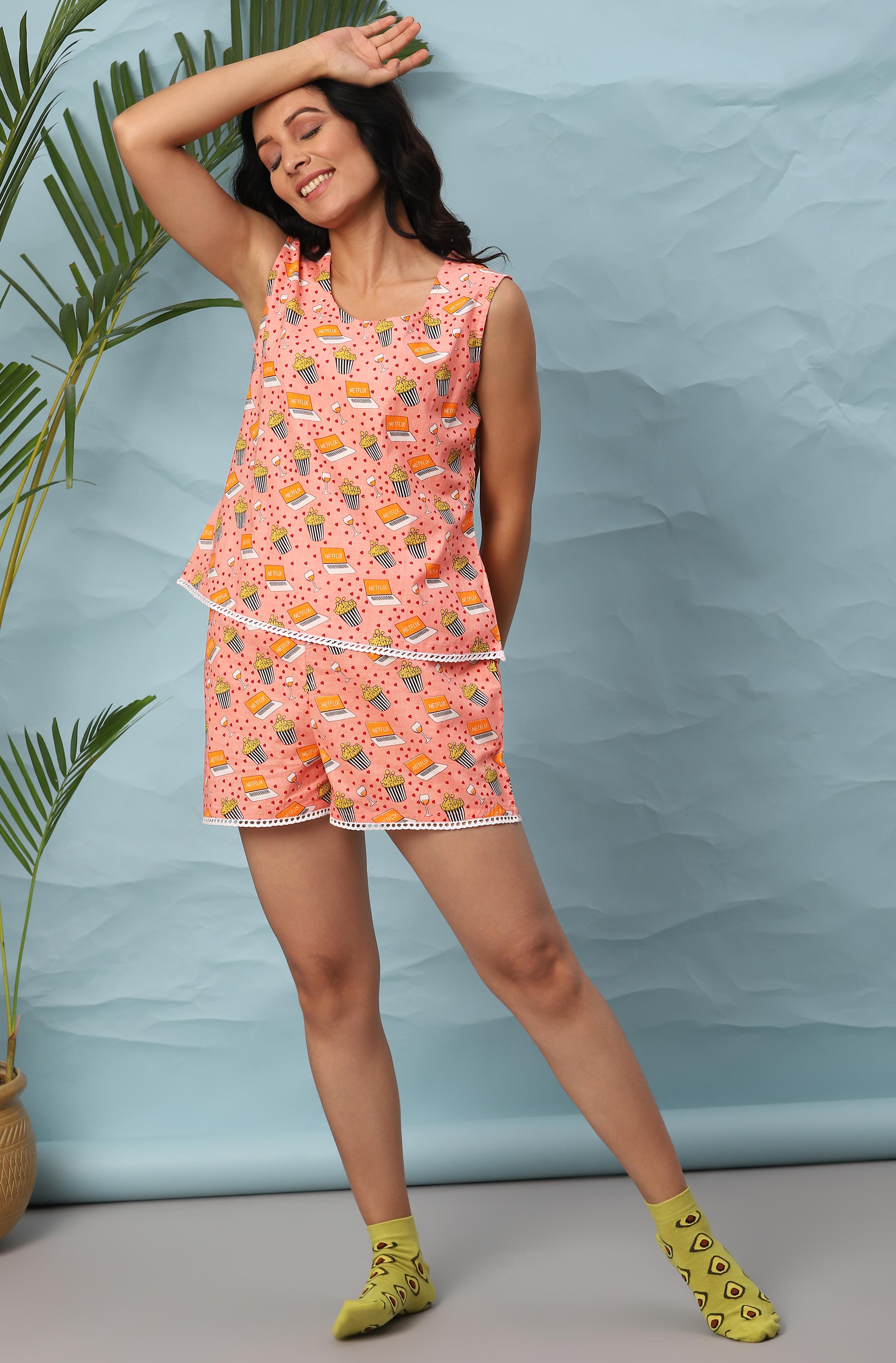 Janasya   Janasya Women's Pink Cotton Night Suit Set