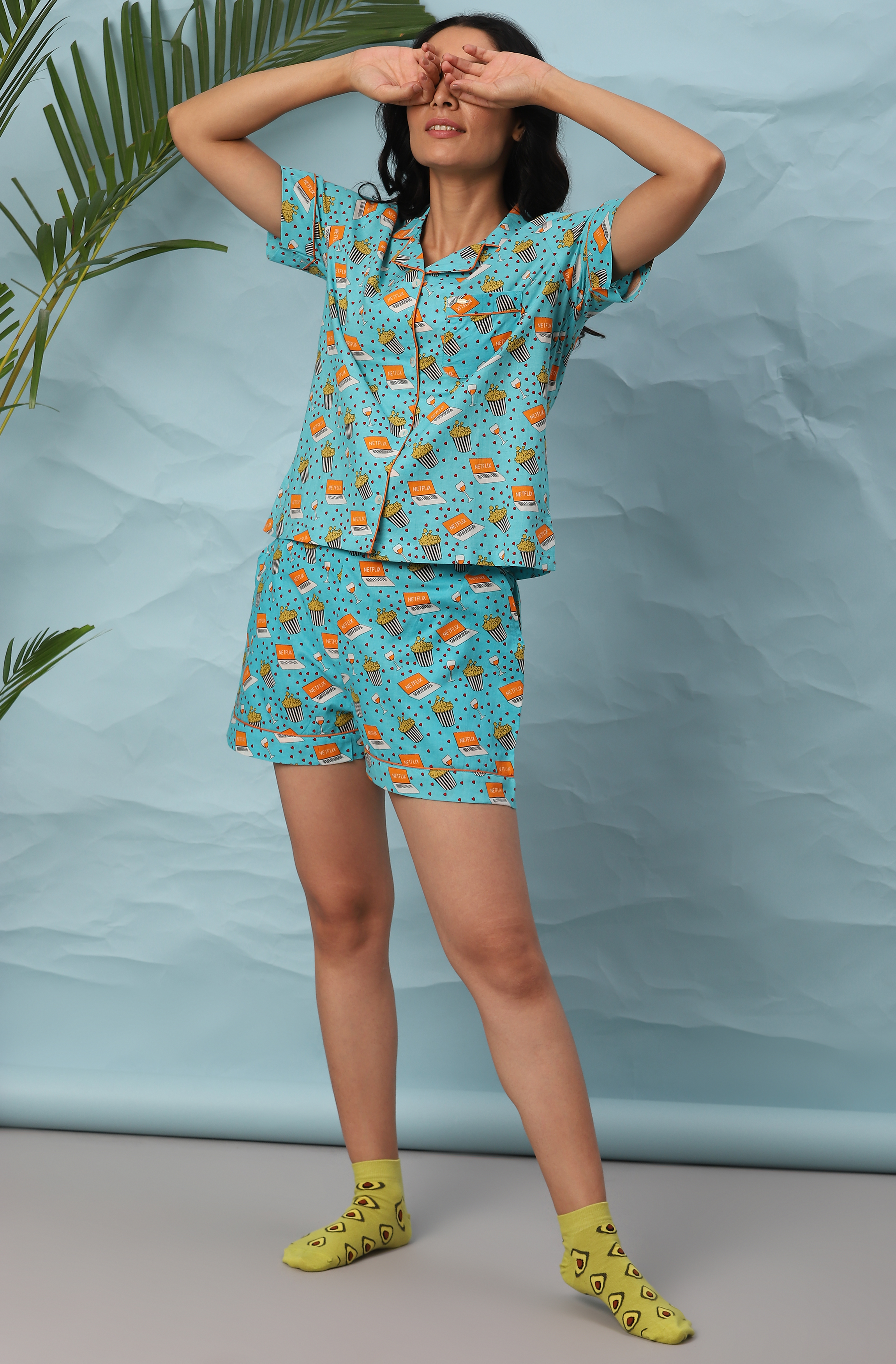 Janasya | Janasya Women's Blue Cotton Night Suit Set