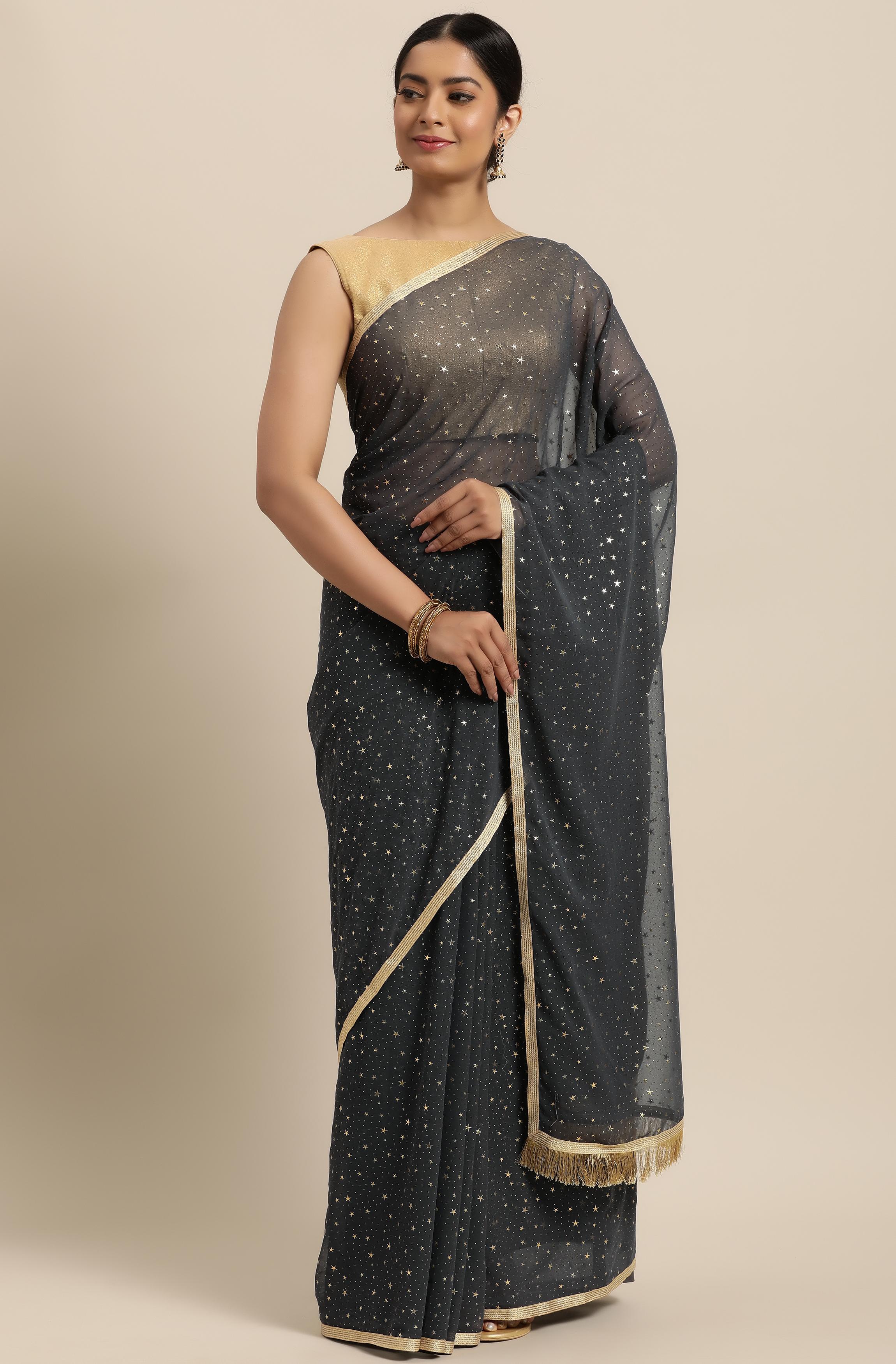 Janasya | Janasya Women's Grey Poly Georgette Printed Saree With Blouse Piece