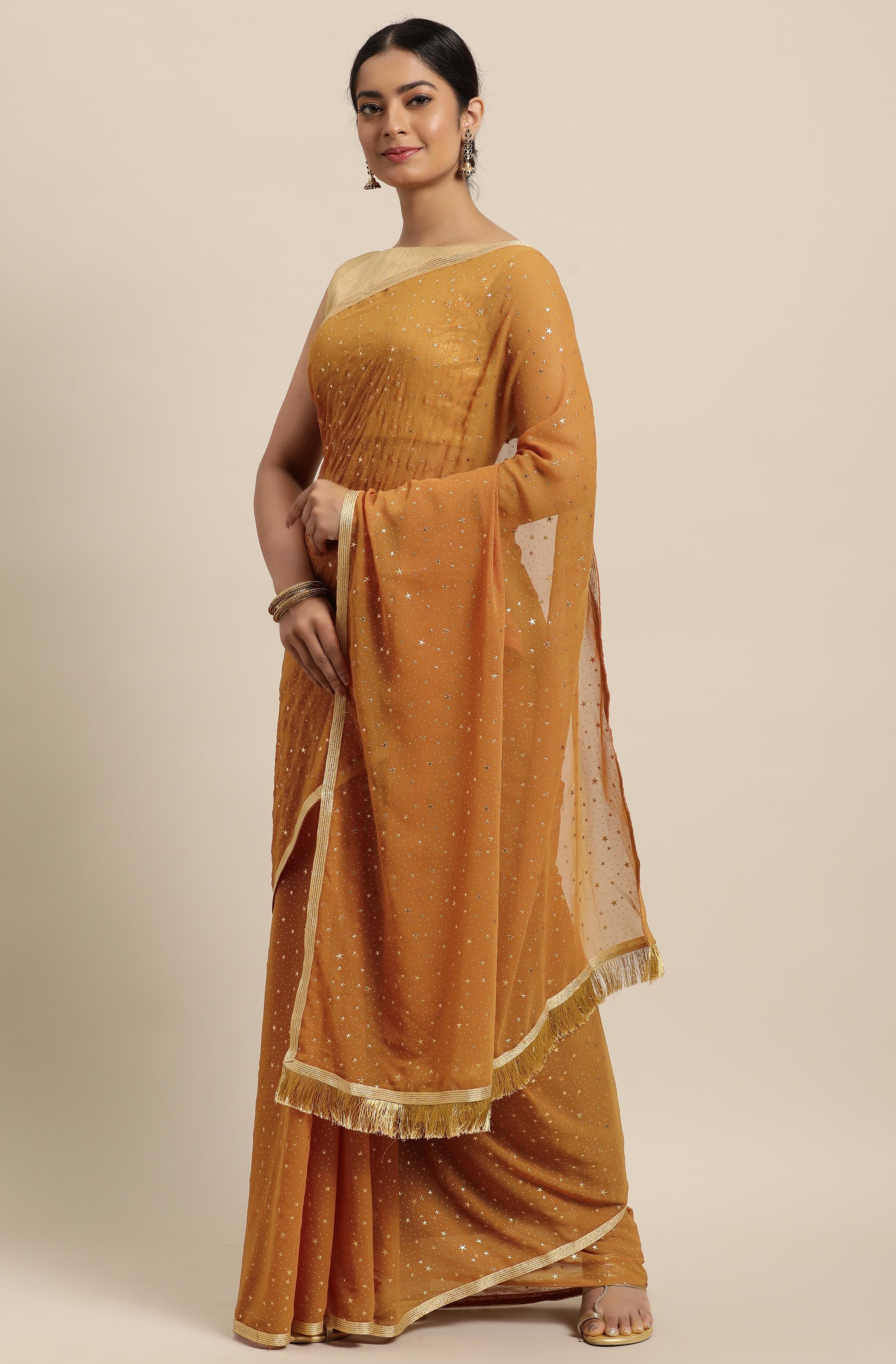 Janasya | Janasya Women's Mustard Poly Georgette Printed Saree With Blouse Piece