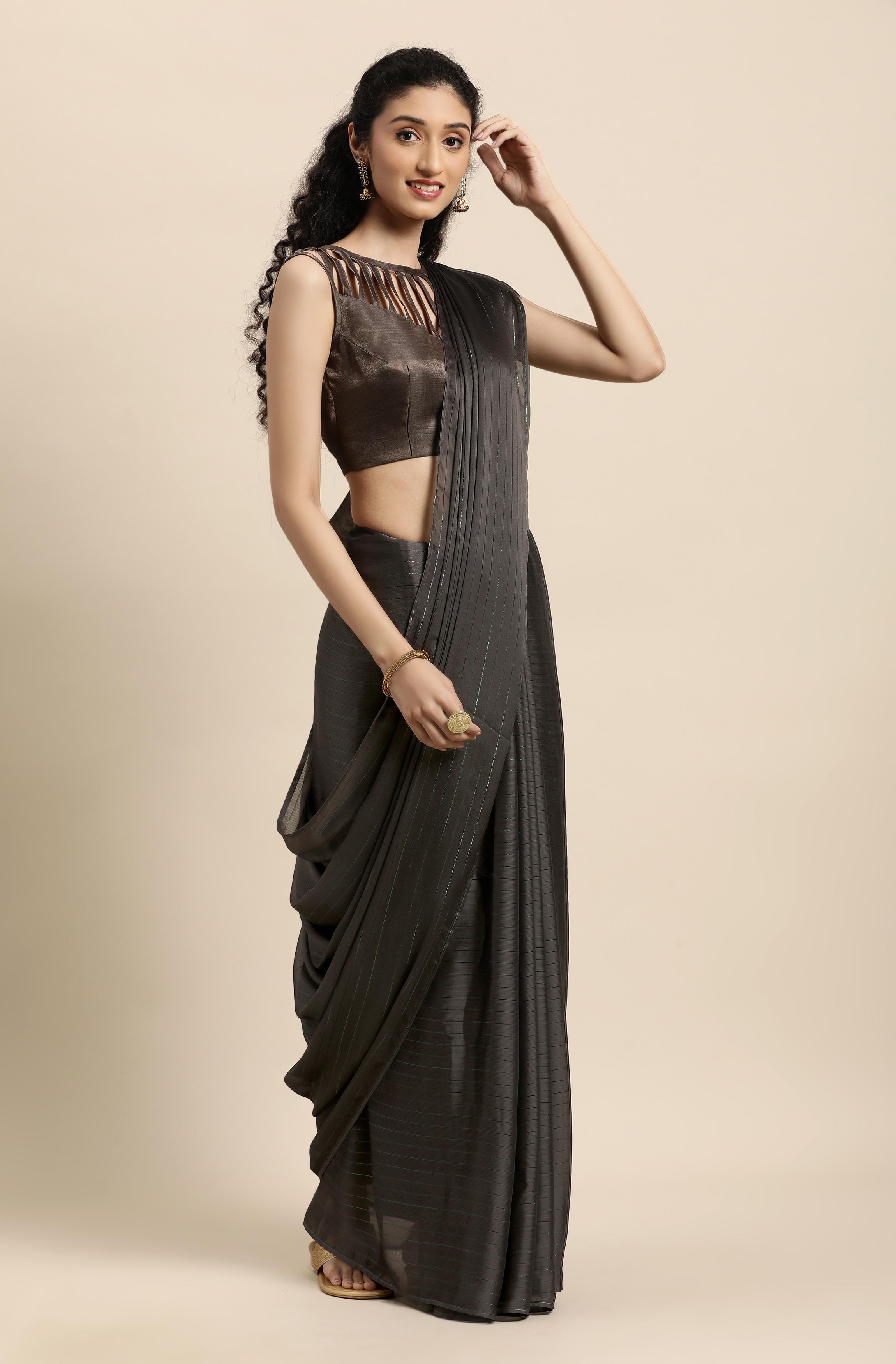 Janasya | Janasya Women's Grey Poly Chiffon Striped Saree With Blouse Piece