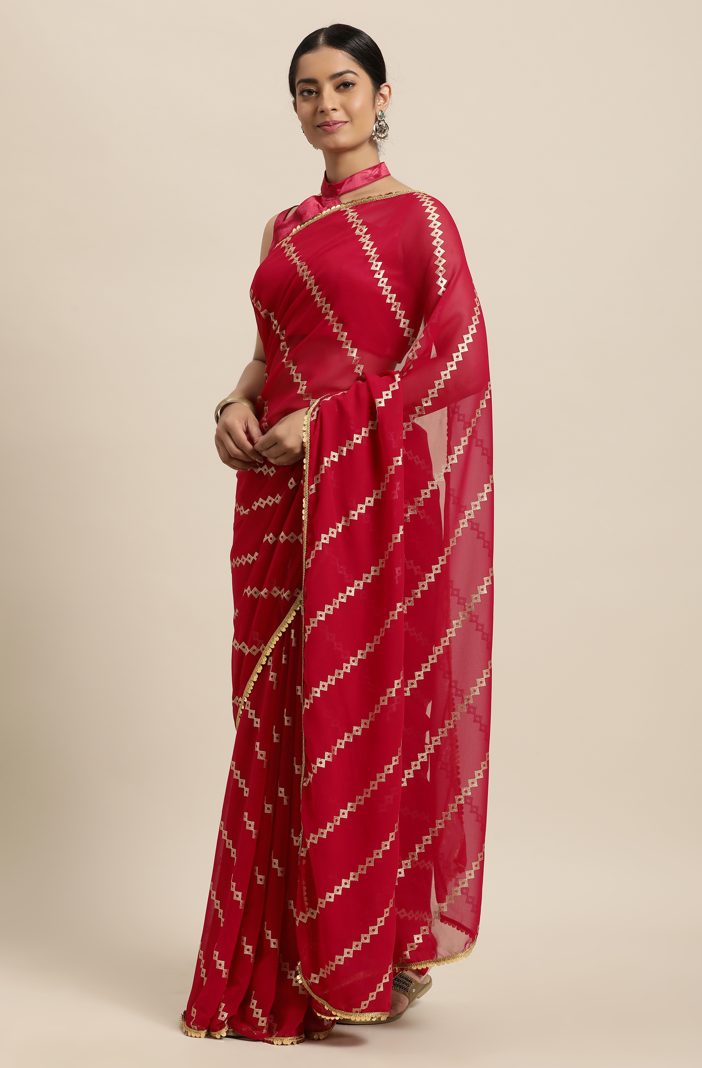 Janasya | Janasya Women's Red Poly Georgette Printed Saree With Blouse Piece