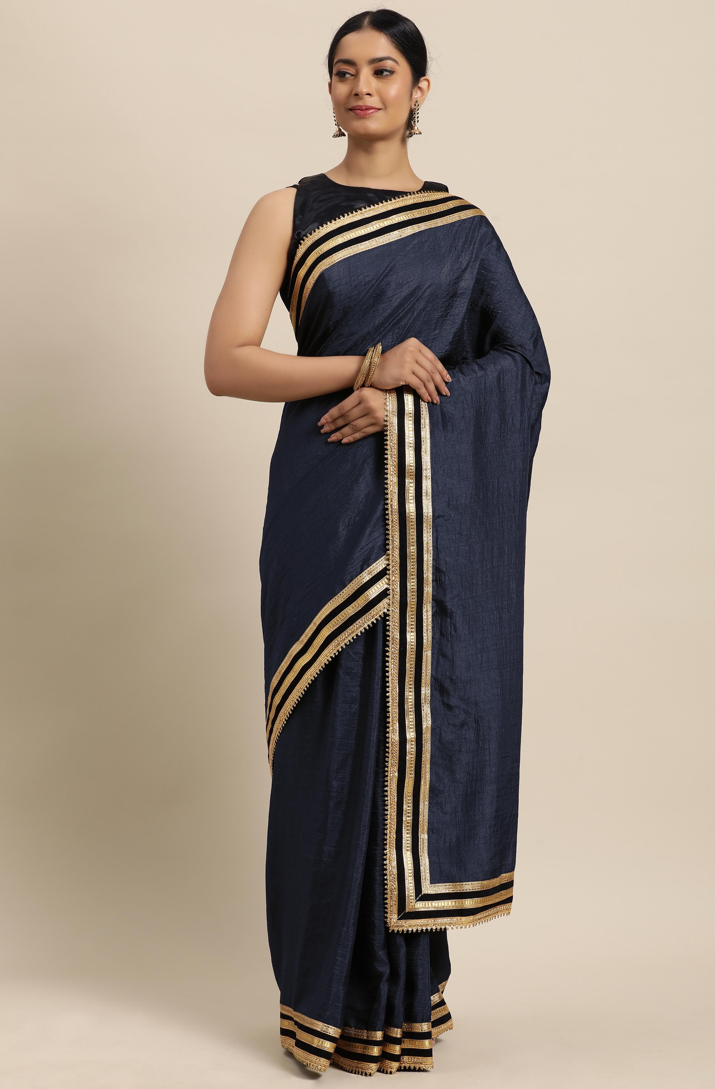 Janasya | Janasya Women's Grey Poly Silk Saree With Blouse Piece