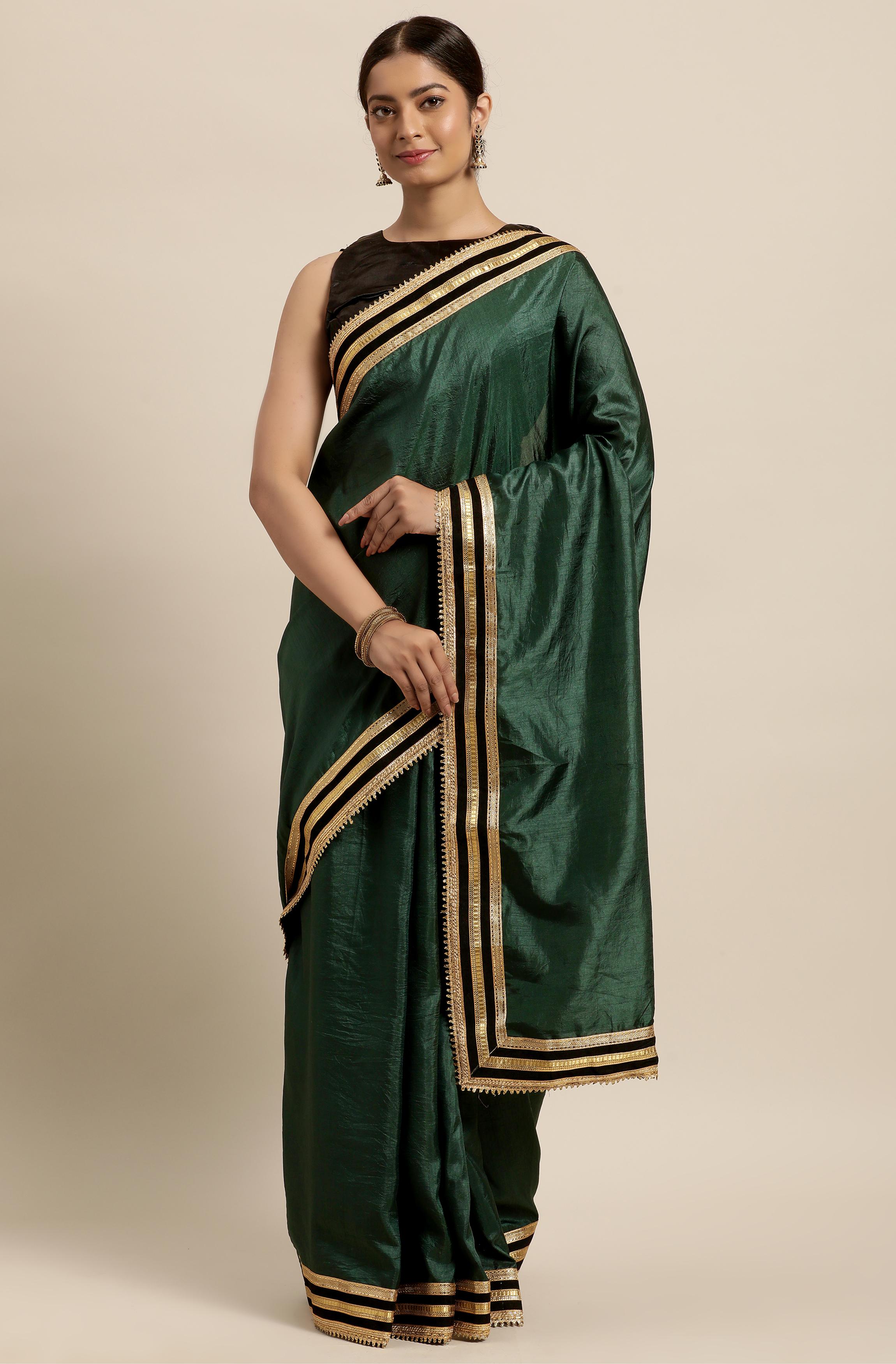 Janasya | Janasya Women's Green Poly Silk Saree With Blouse Piece
