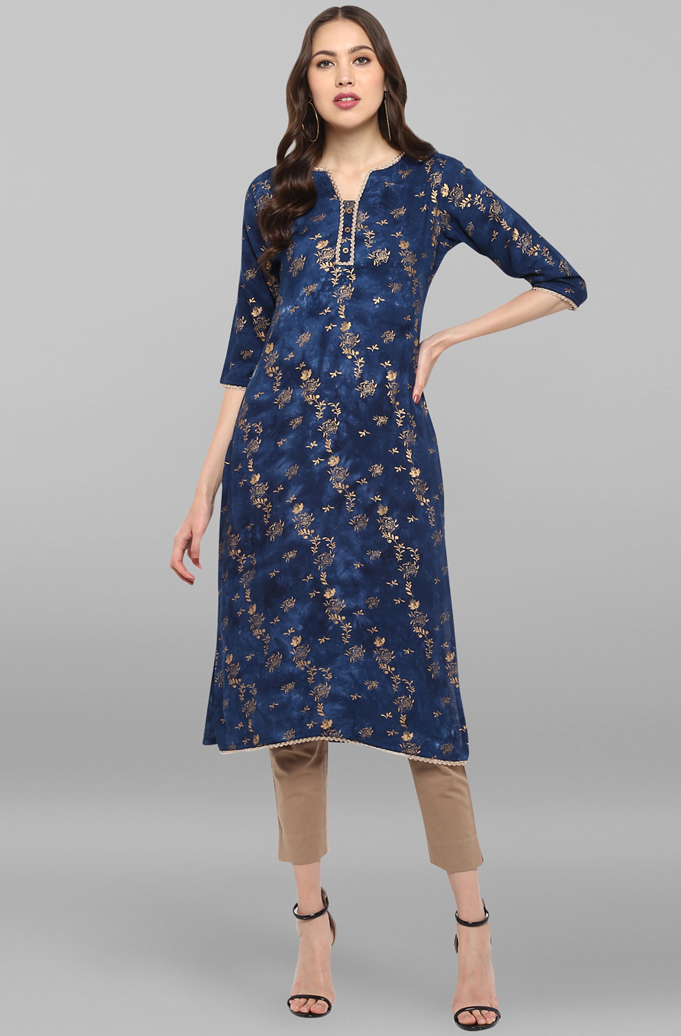 Janasya | Janasya Women's Blue Rayon Kurta With Pant