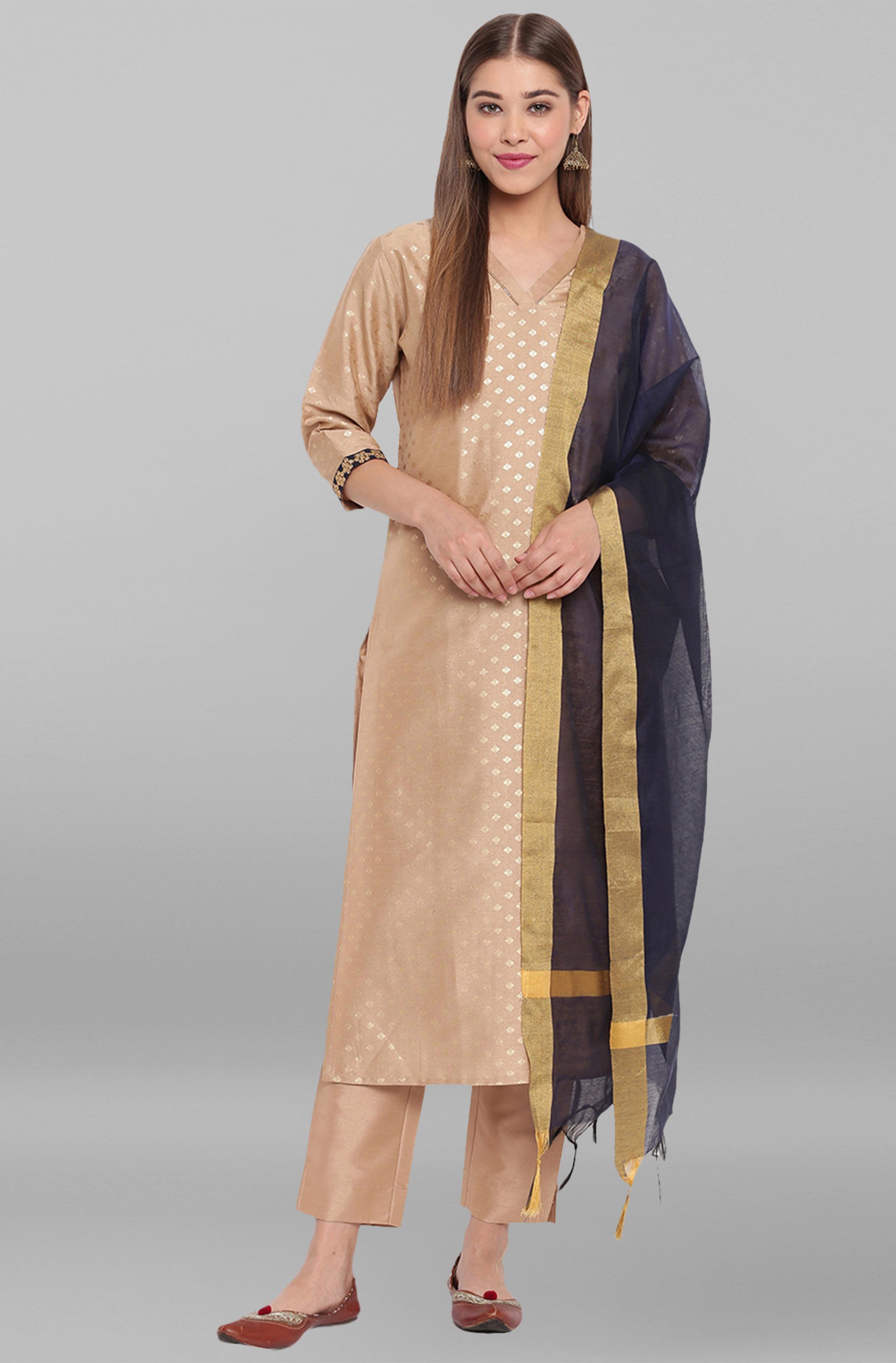 Janasya | Janasya Women's Beige Poly Silk Kurta With Pant And Dupatta