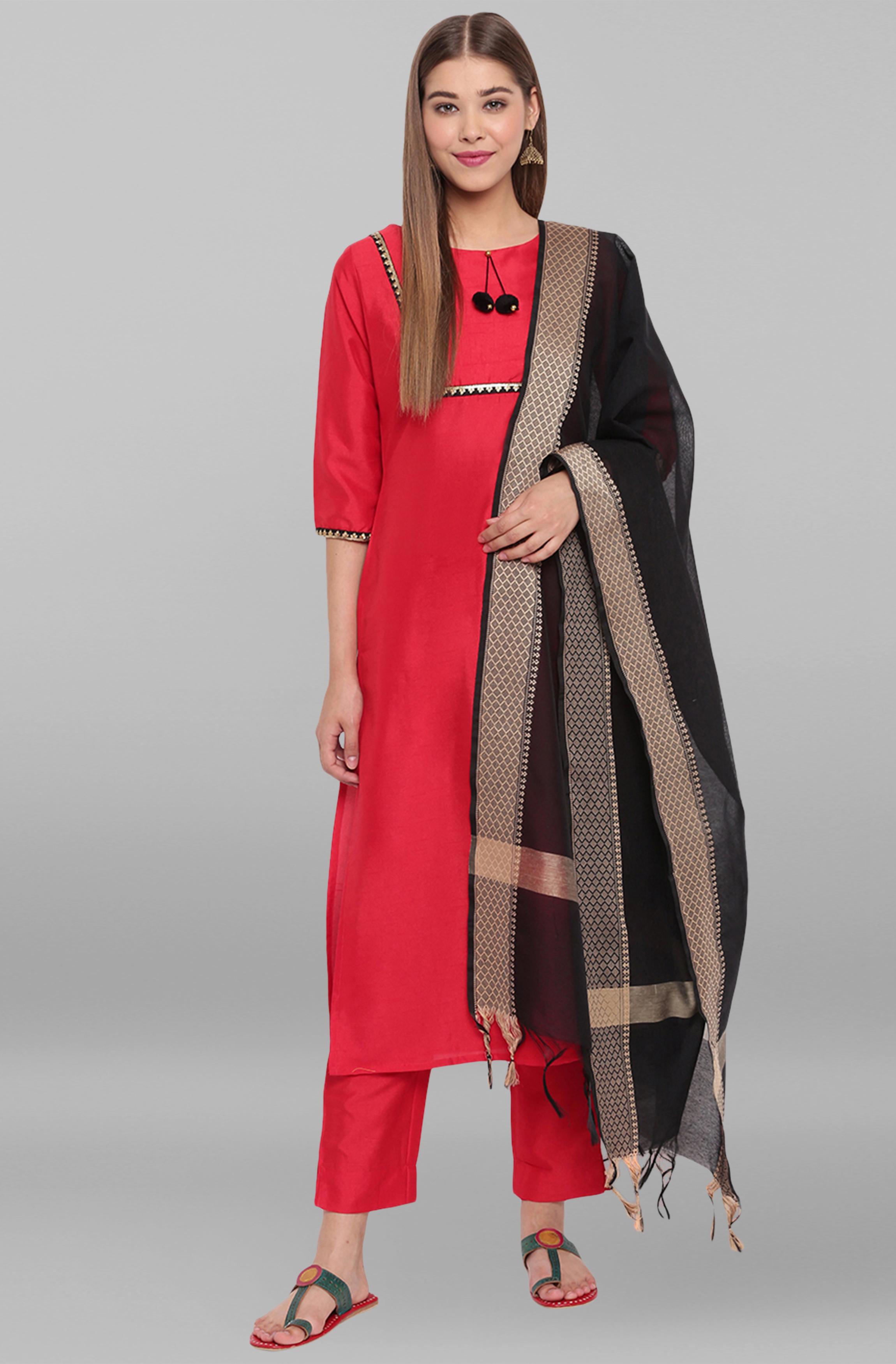 Janasya   Janasya Women's Red Poly Silk Kurta With Pant And Dupatta