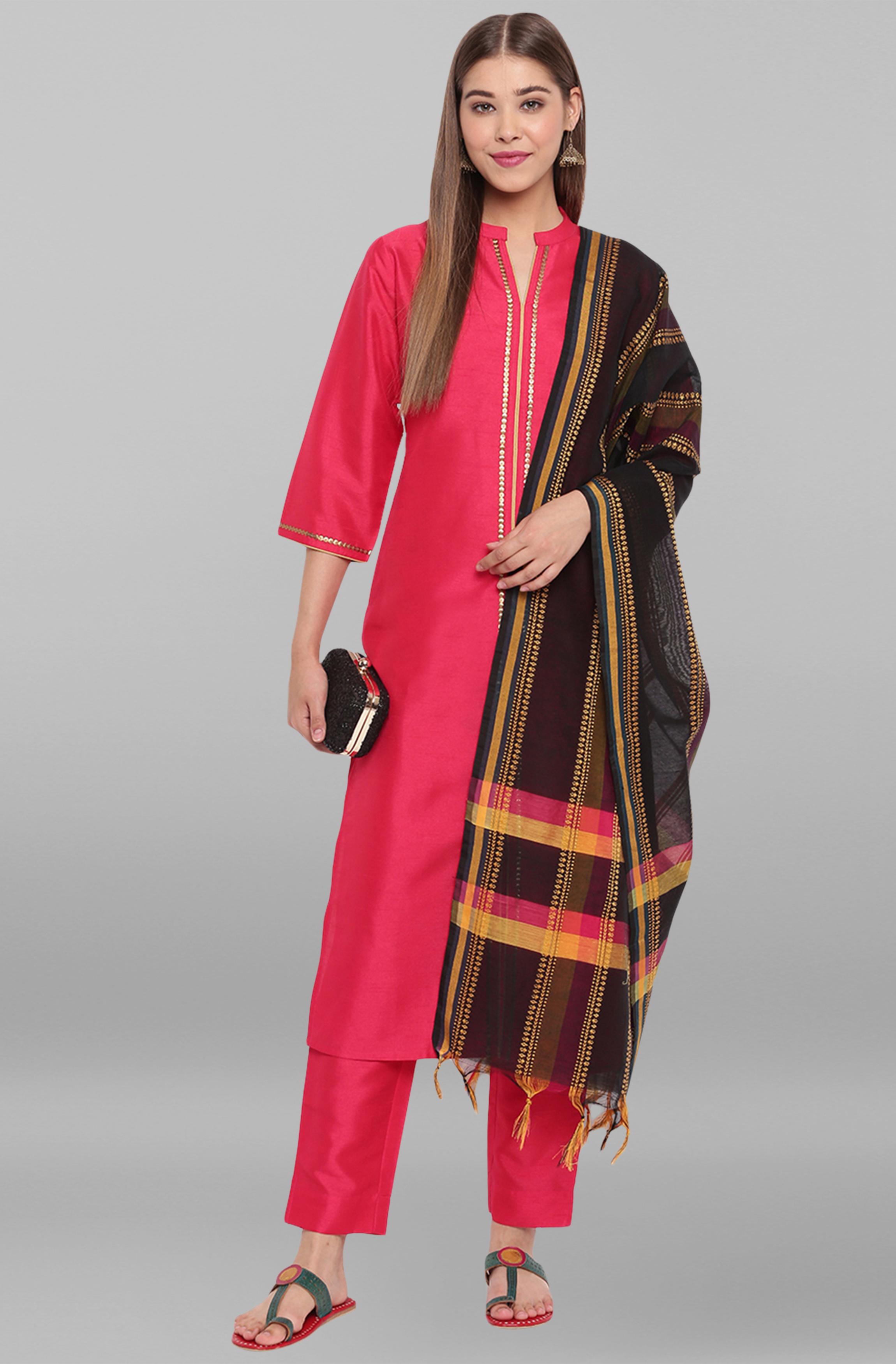 Janasya   Janasya Women's Pink Poly Silk Kurta With Pant And Dupatta
