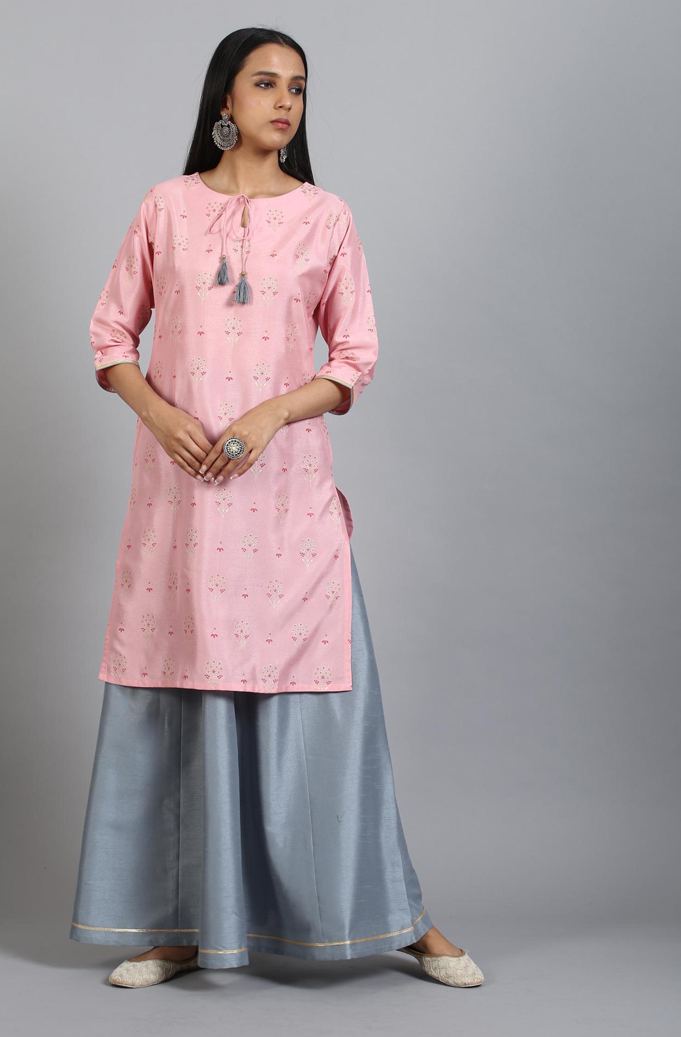 Janasya   Janasya Women's Pink Poly Silk Kurta With Skirt