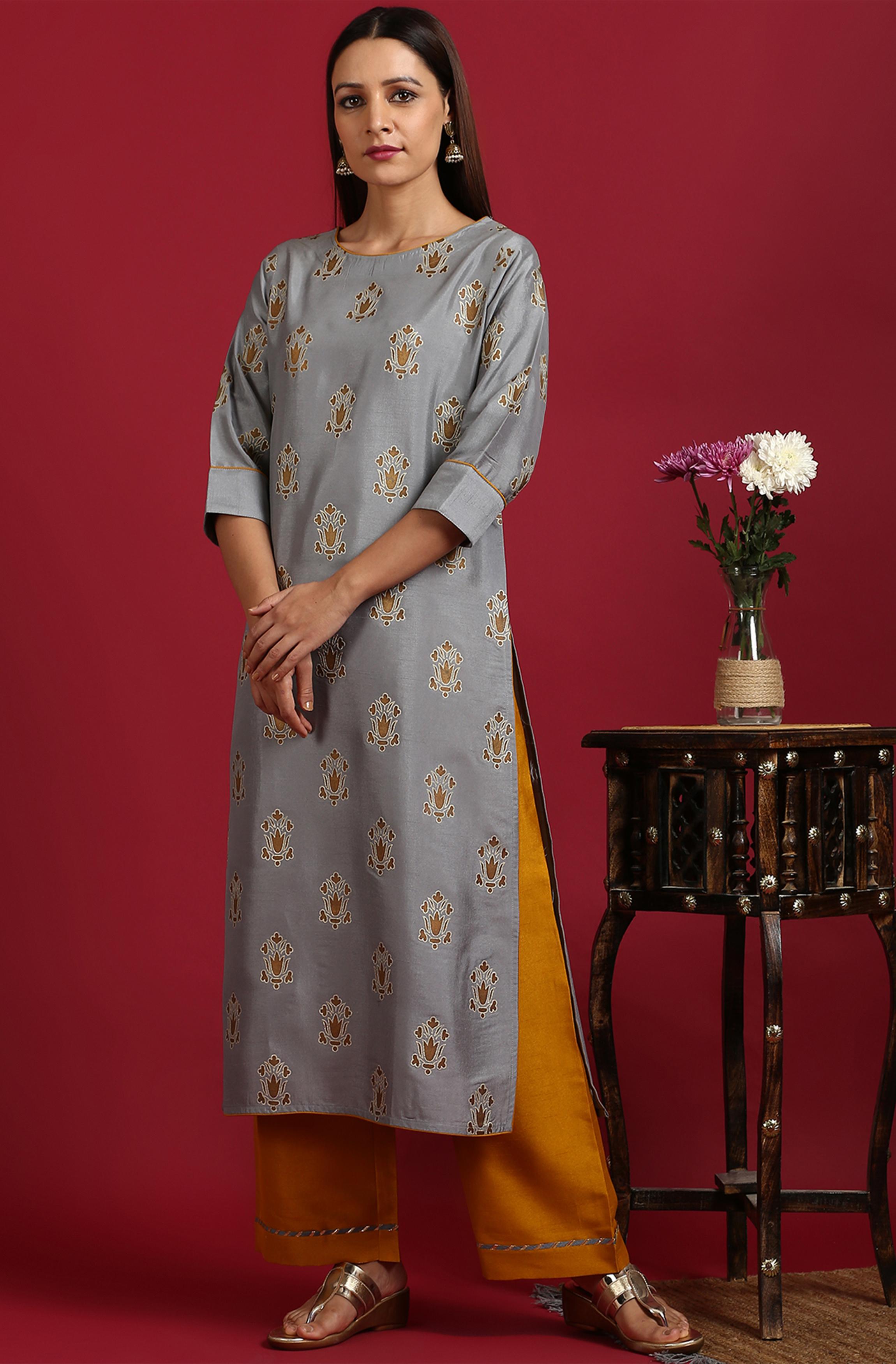Janasya | Janasya Women's Grey Poly Silk Kurta With Palazzo
