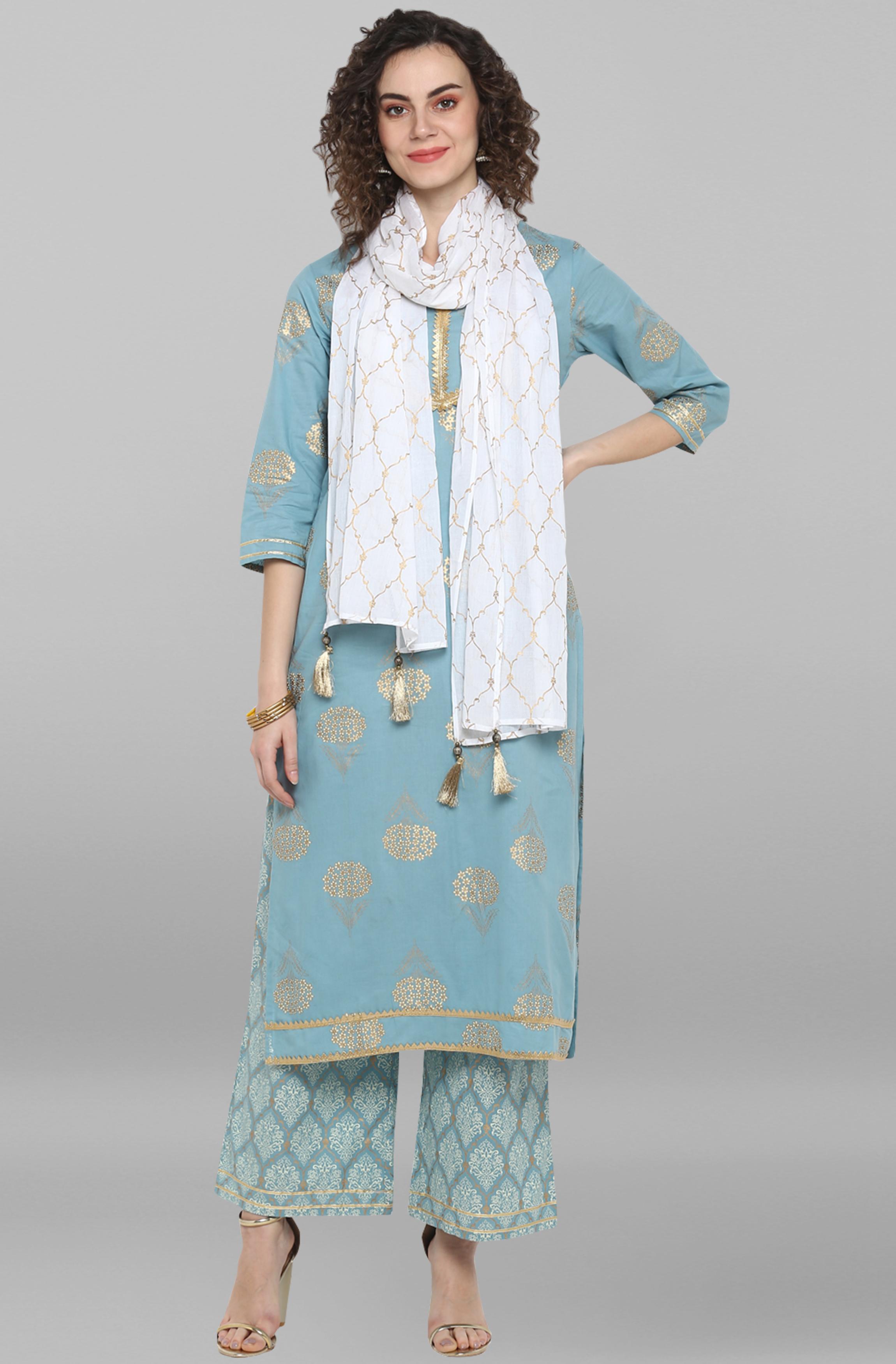 Janasya | Janasya Women's Sea Green Pure Cotton Kurta With Palazzo and Dupatta
