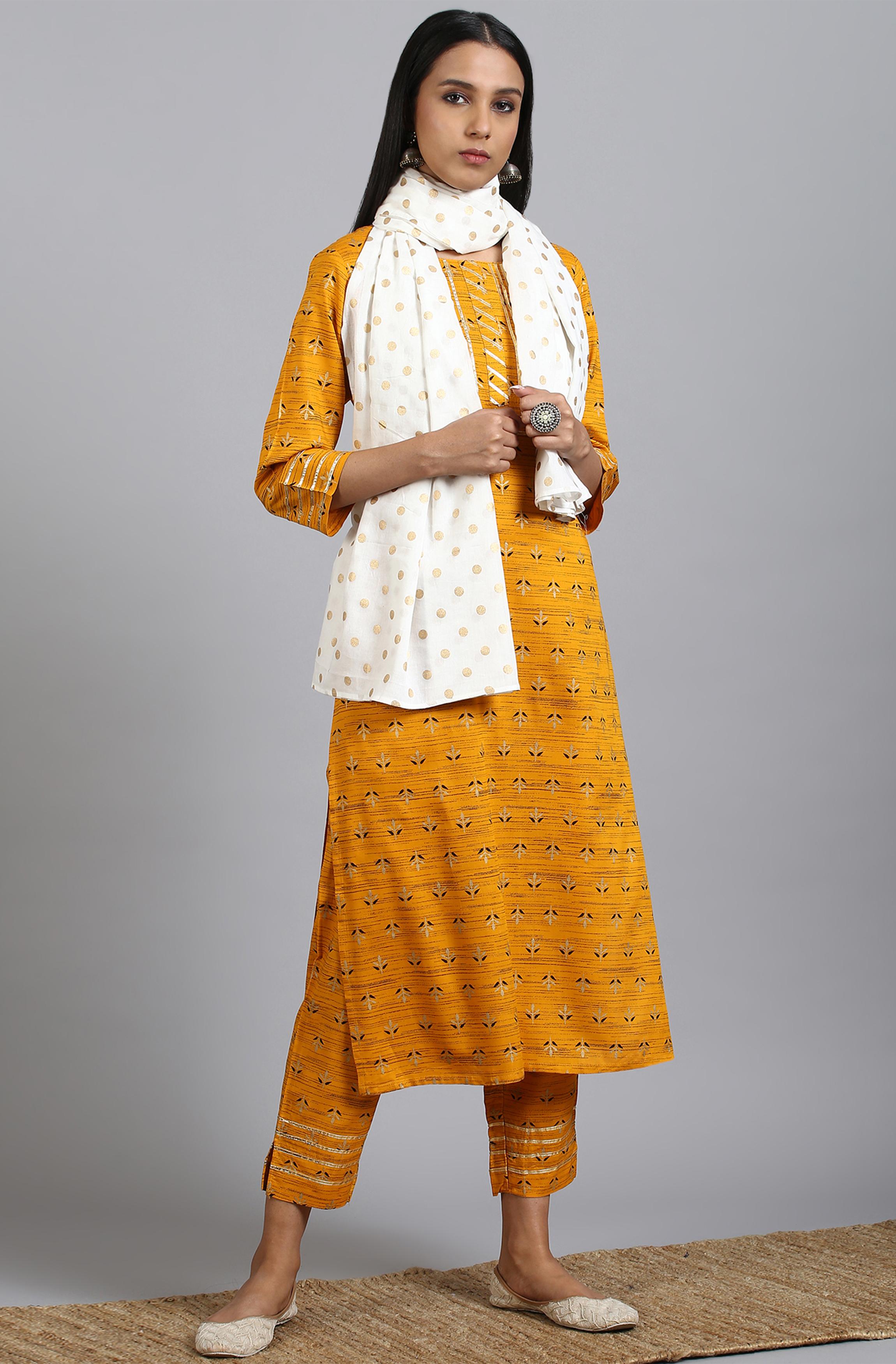 Janasya   Janasya Women's Mustard Rayon Kurta With Pant And Dupatta