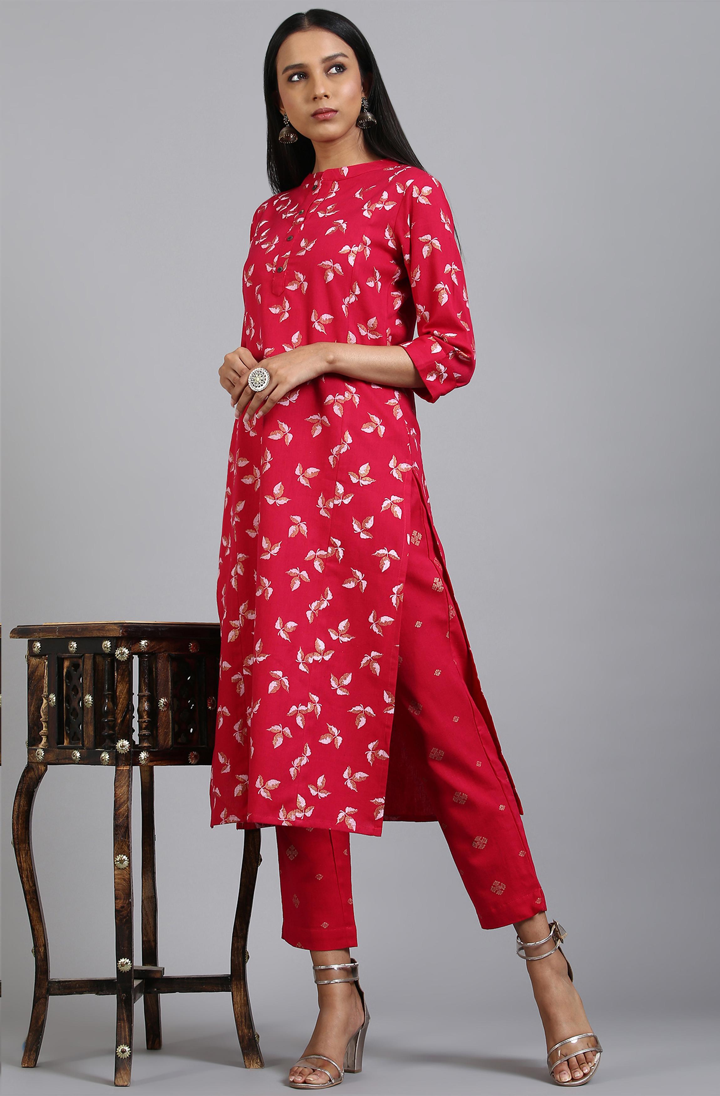 Janasya | Janasya Women's Pink Cotton Flex Kurta With Pant