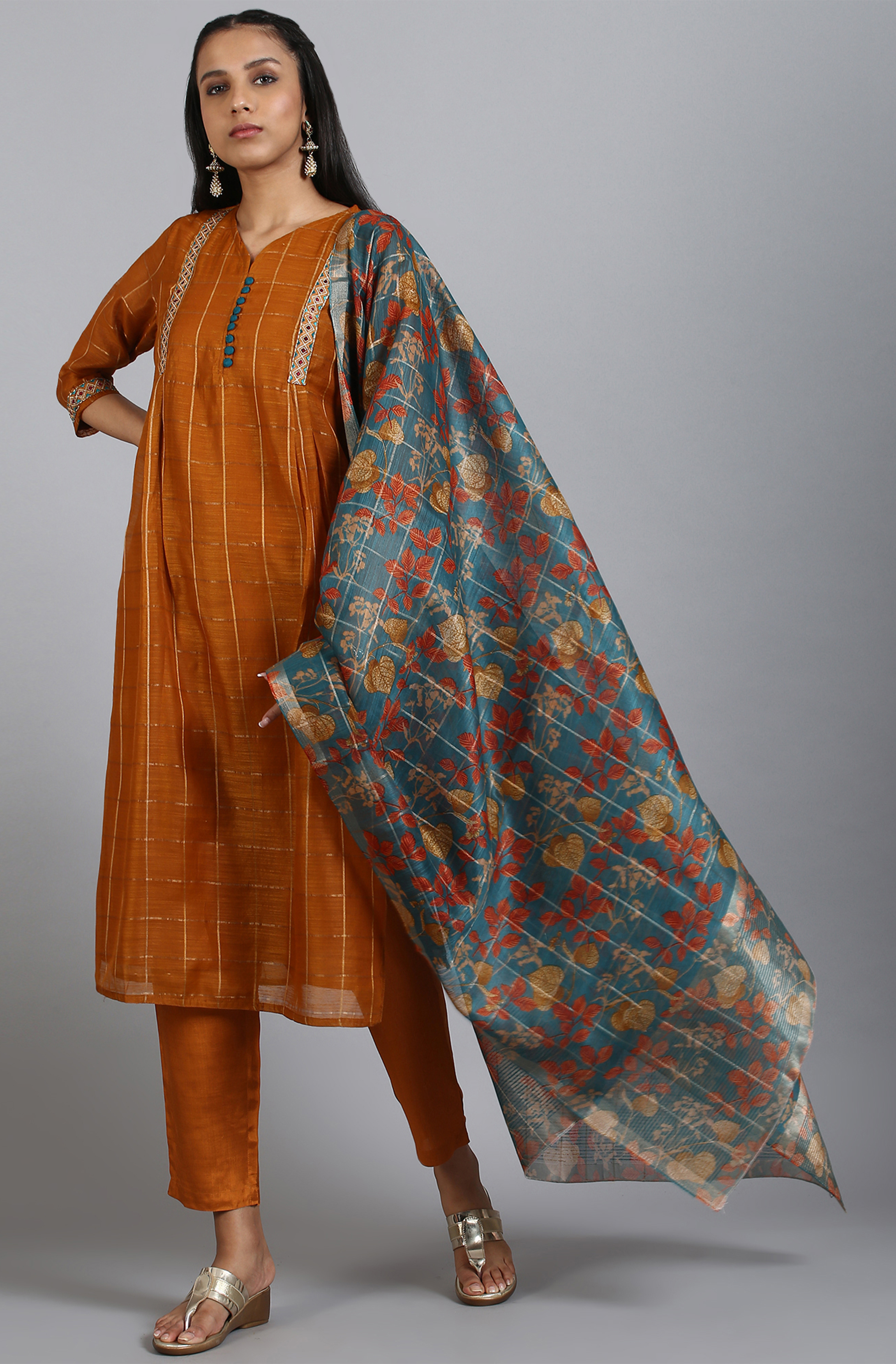 Janasya   Janasya Women's Rust Art Silk Kurta With Pant And Dupatta