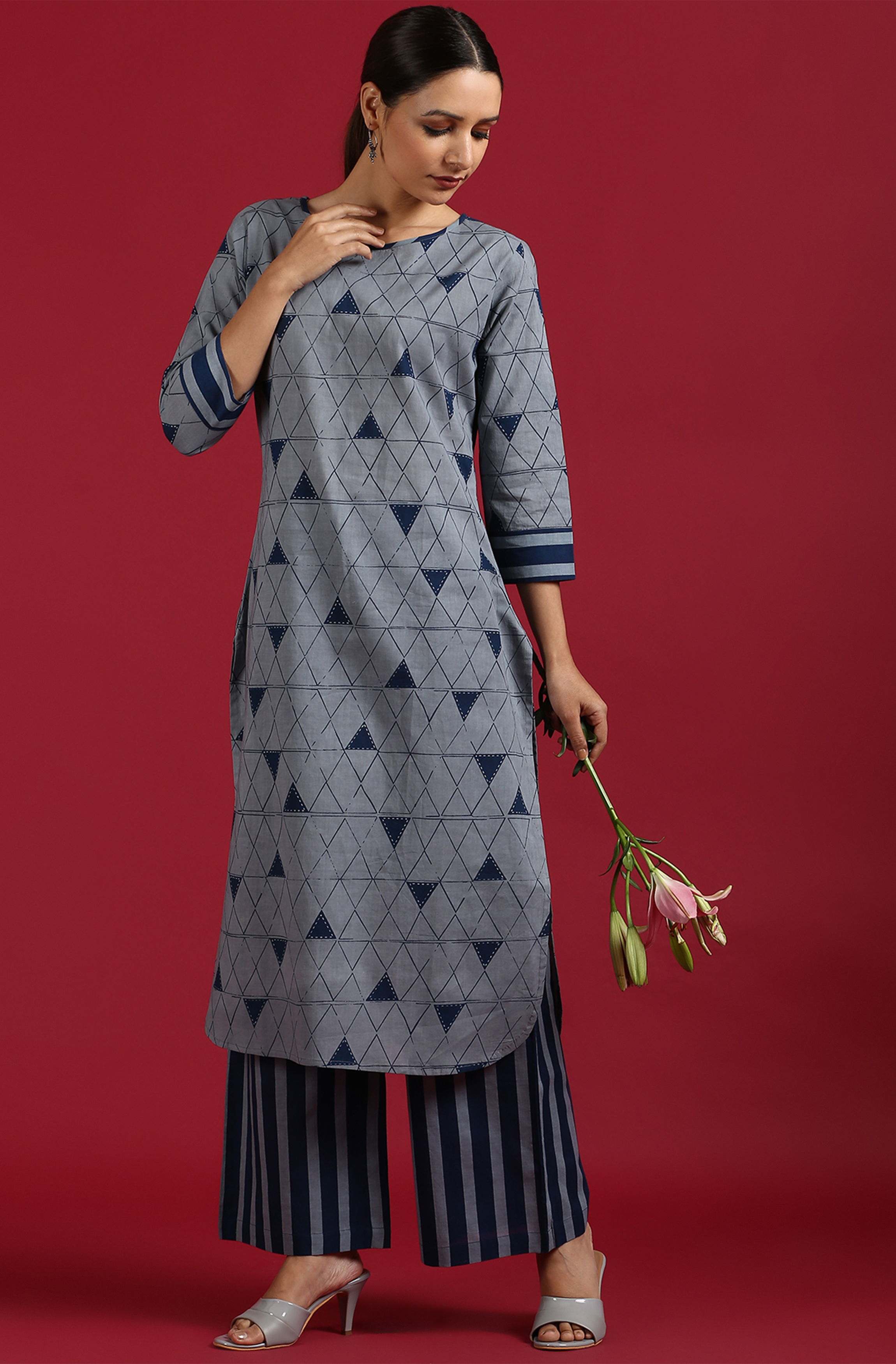 Janasya | Janasya Women's Grey Cotton Kurta With Palazzo