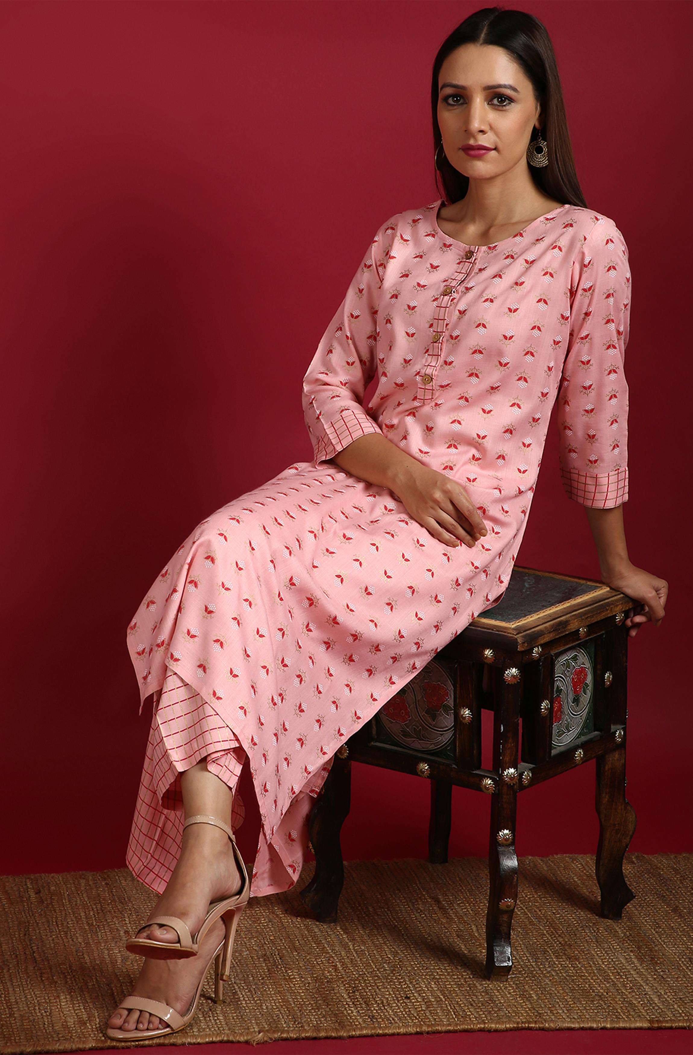 Janasya | Janasya Women's Pink Rayon Slub Kurta With Palazzo