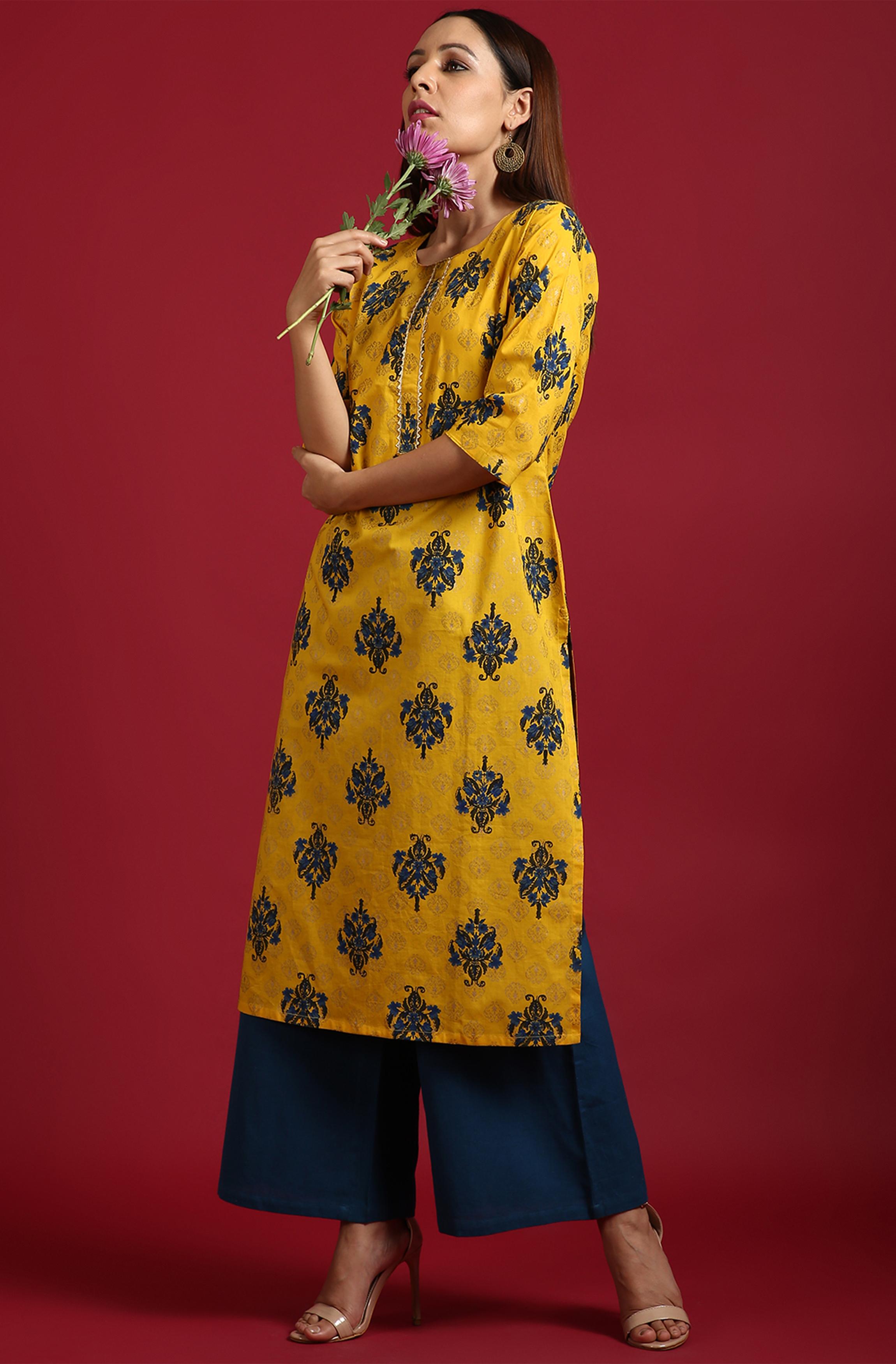 Janasya | Janasya Women's Yellow Cotton Kurta With Palazzo