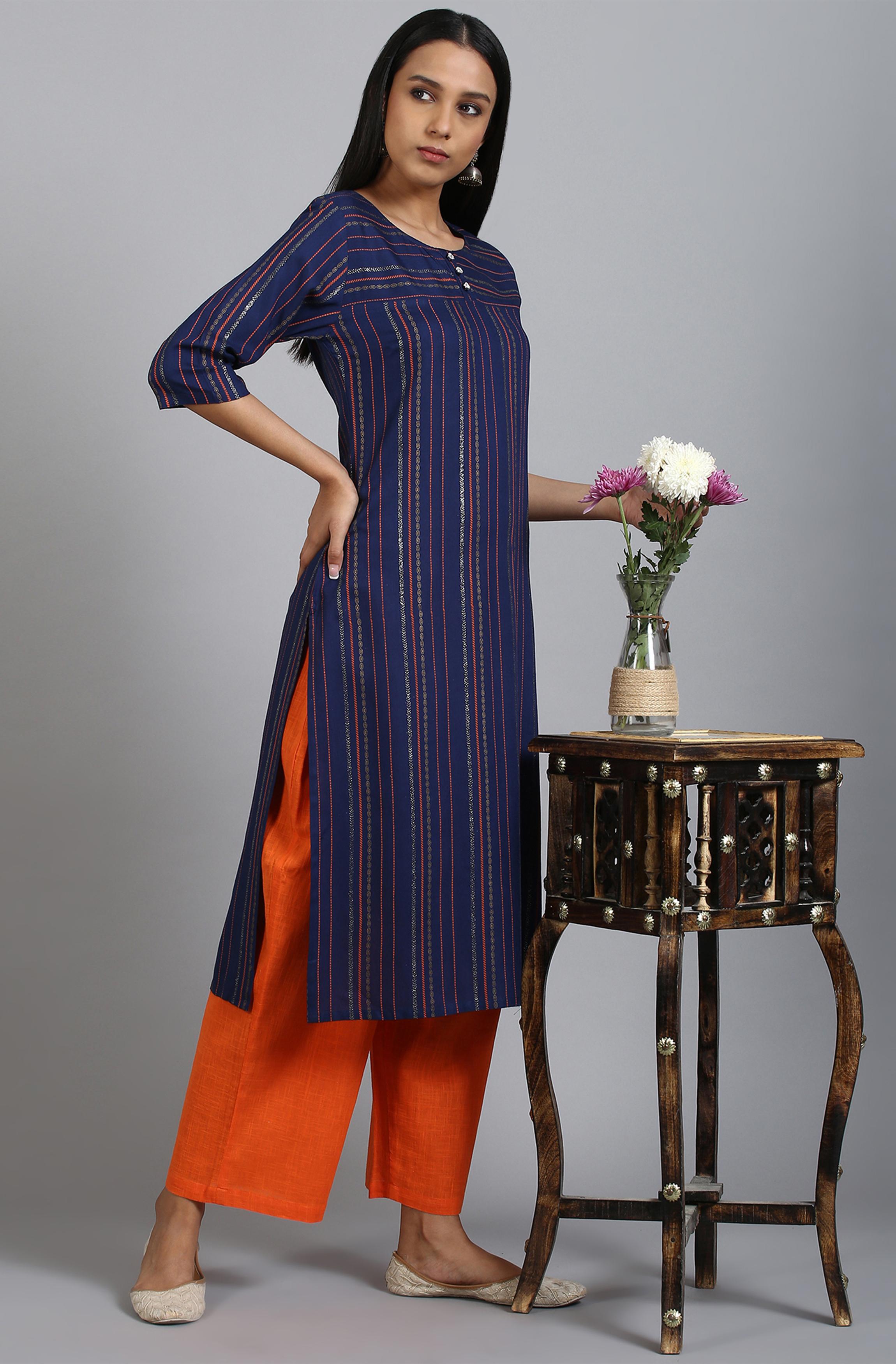Janasya | Janasya Women's Blue Rayon Kurta With Palazzo