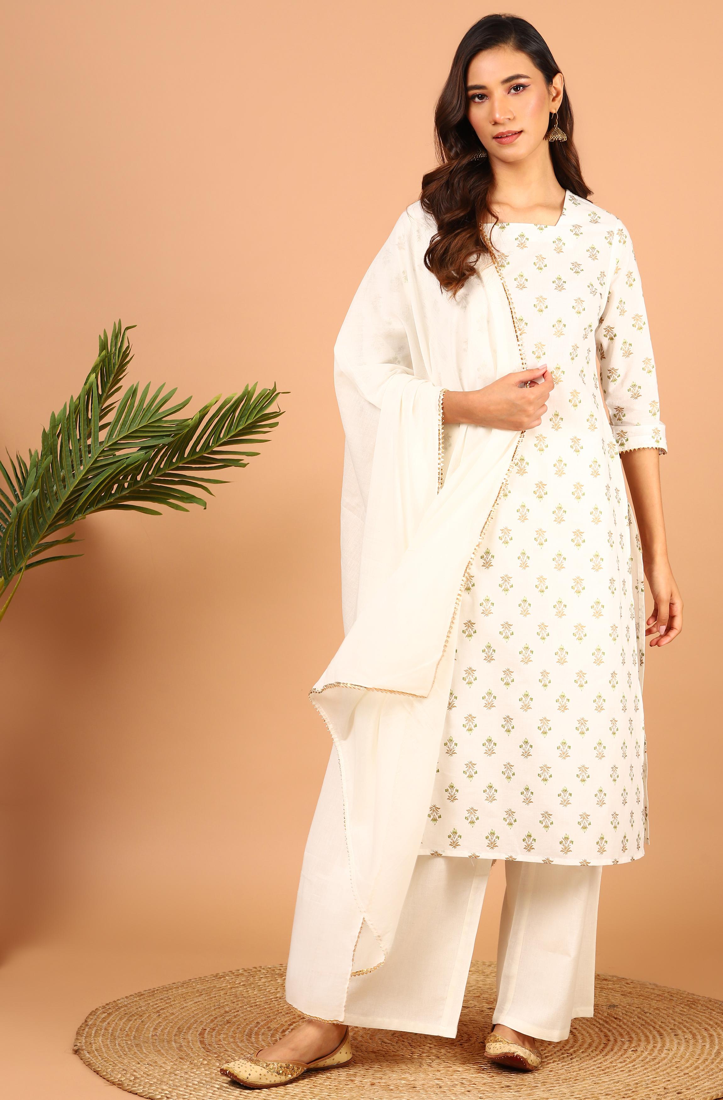 Janasya | Janasya Women's Off-White Cotton Kurta With Palazzo And Dupatta
