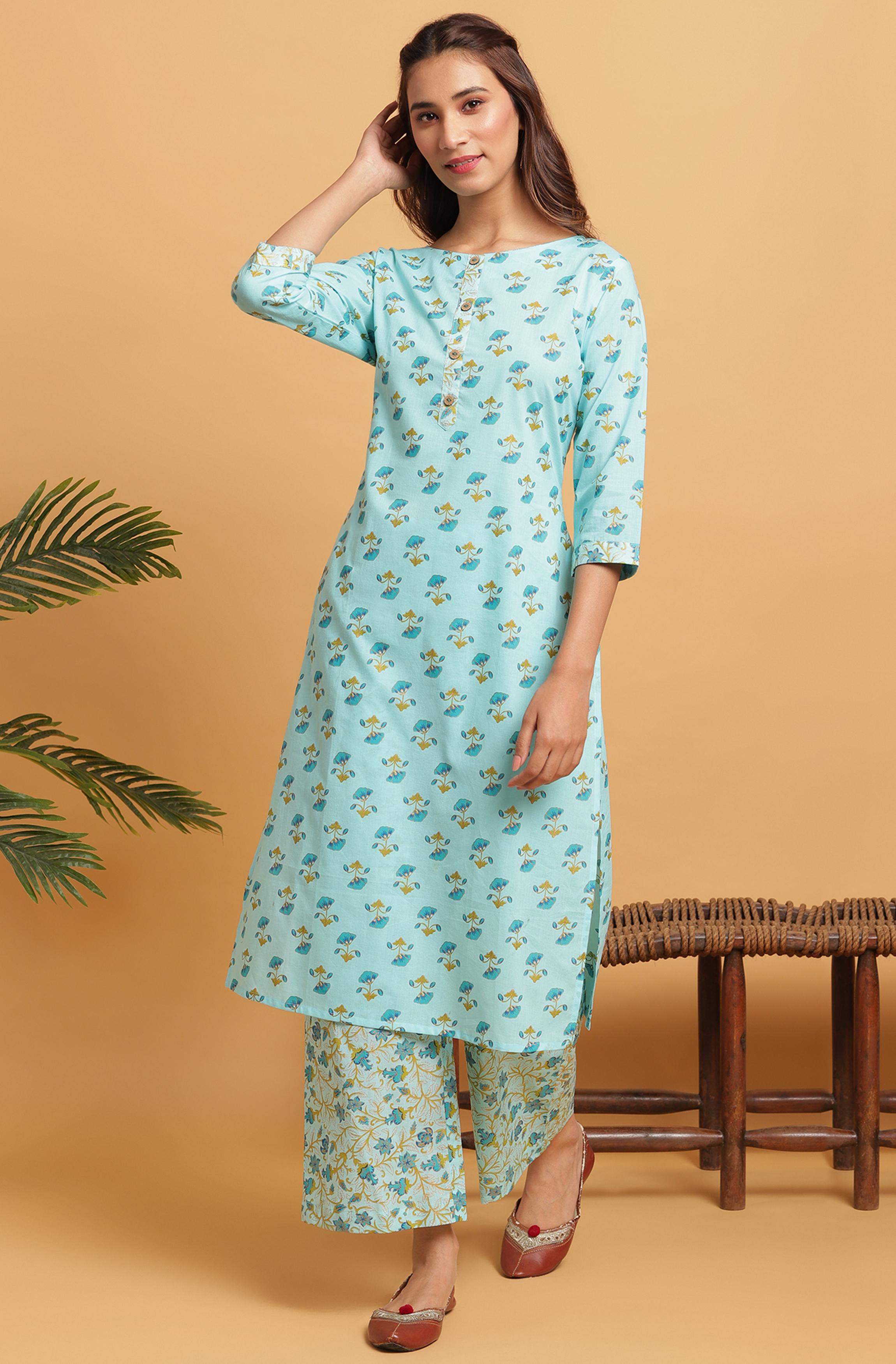 Janasya | Janasya Women's Turquoise Cotton Kurta With Palazzo