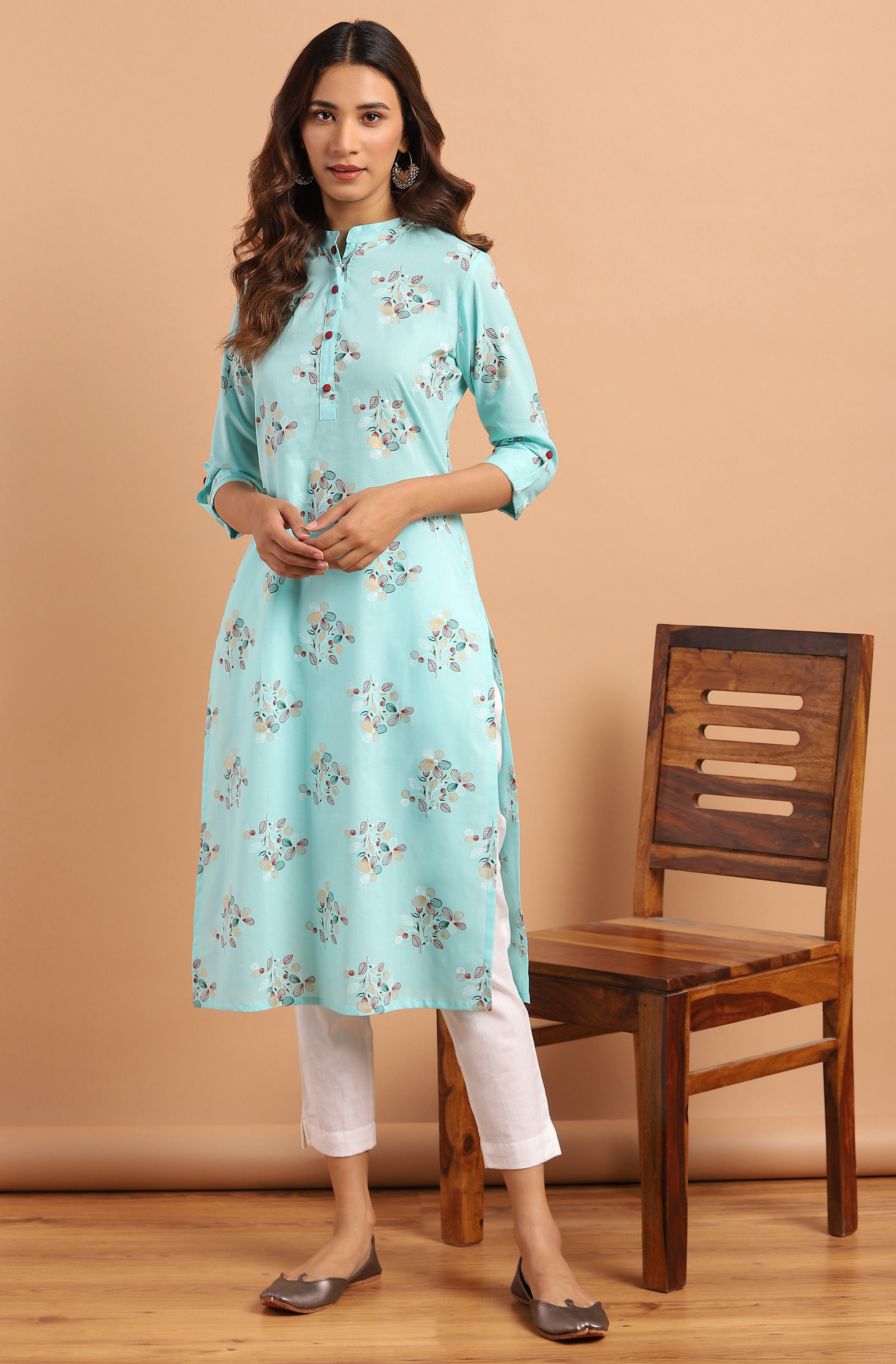 Janasya | Janasya Women's Turquoise Cotton Kurta With Pant