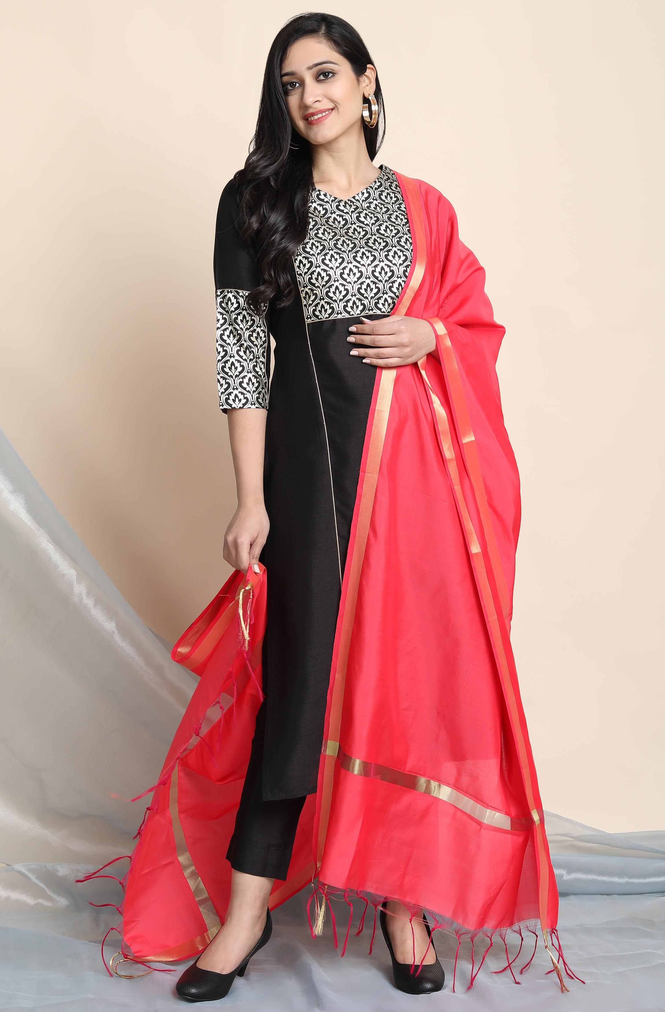 Janasya | Janasya Women's Black Poly Silk Kurta With Pant And Dupatta