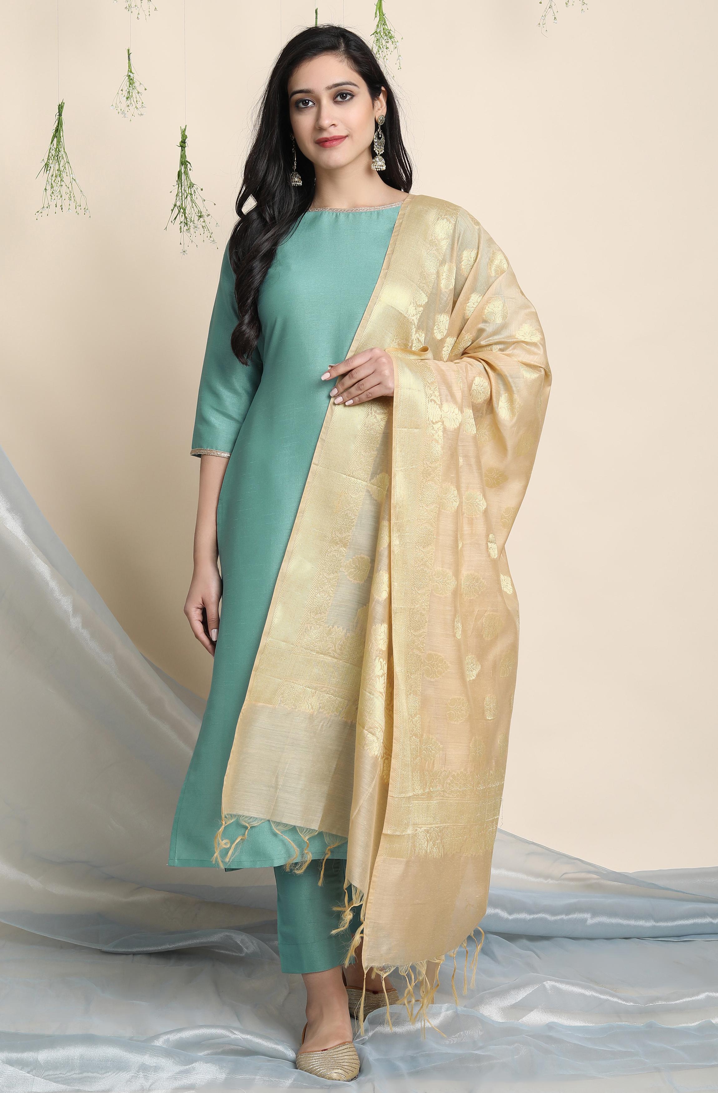 Janasya | Janasya Women's Green Poly Silk Kurta With Pant and Dupatta