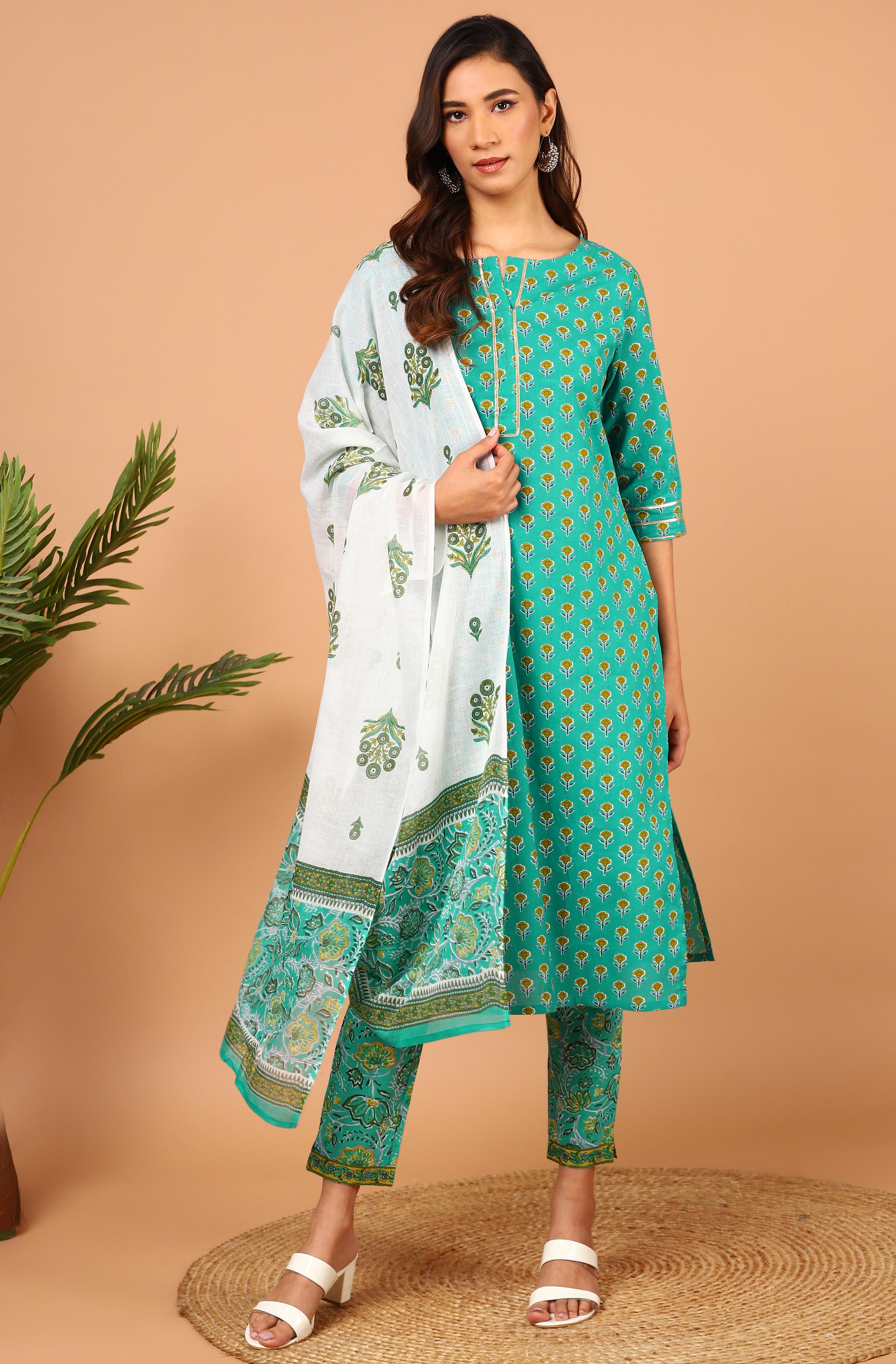 Janasya   Janasya Women's Green Cotton Kurta With Pant And Dupatta
