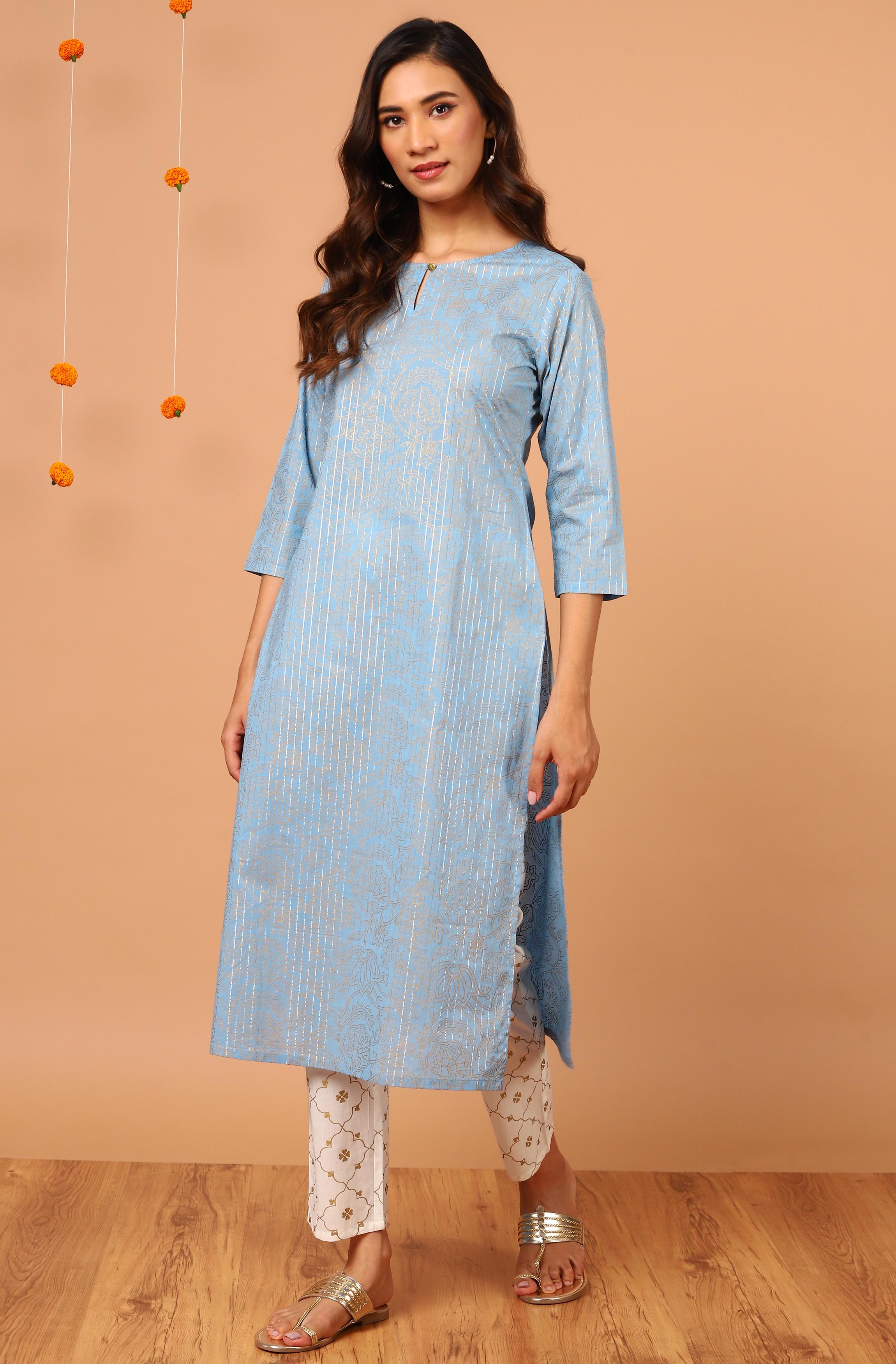 Janasya | Janasya Women's Blue Cotton Kurta With Pant