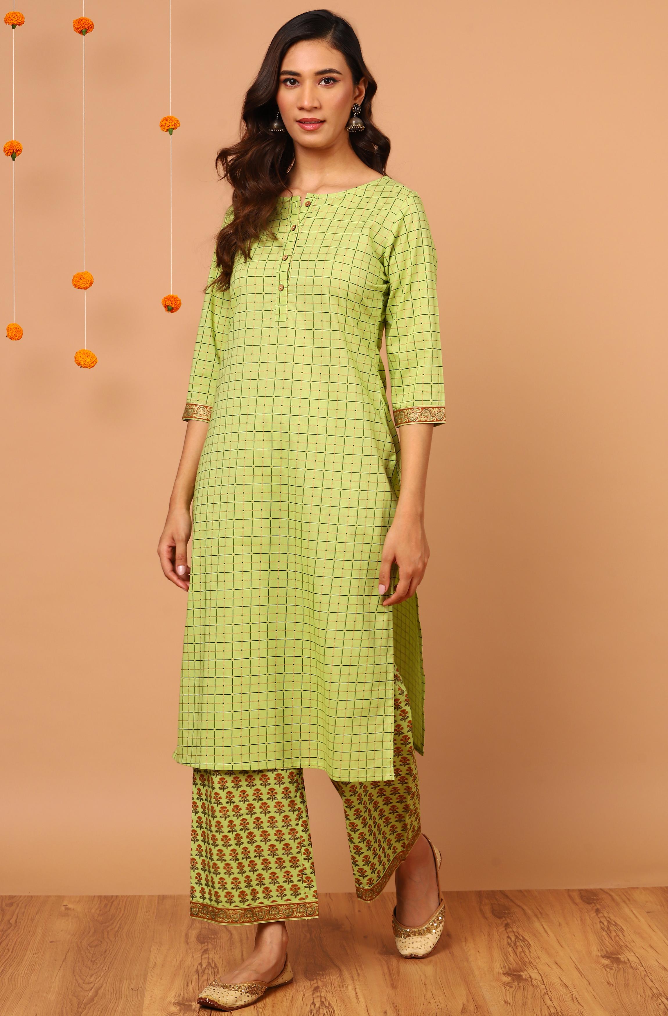 Janasya | Janasya Women's Green Cotton Kurta With Palazzo
