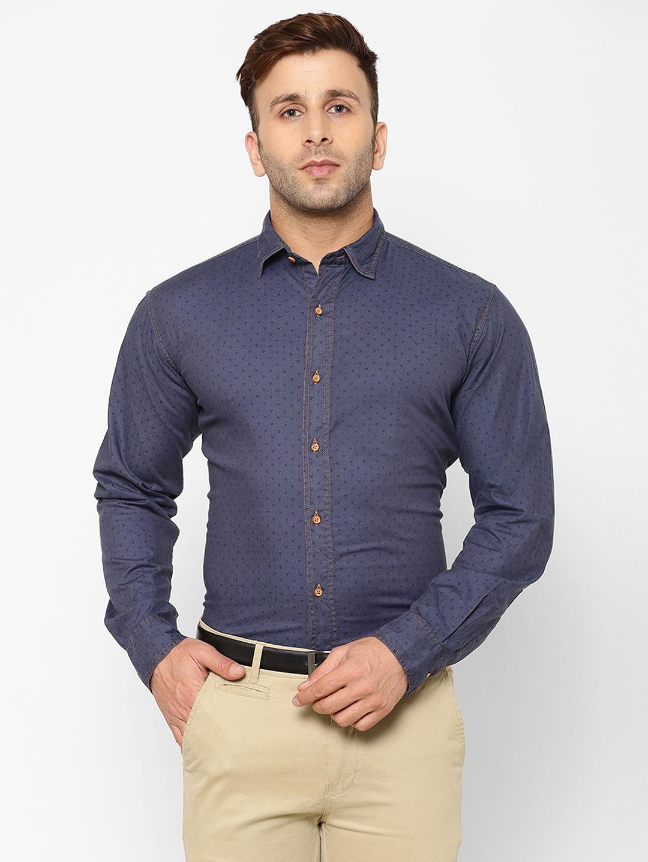 Eppe | EPPE Men's Printed Smart Fit Full Sleeves Casual Denim Shirt