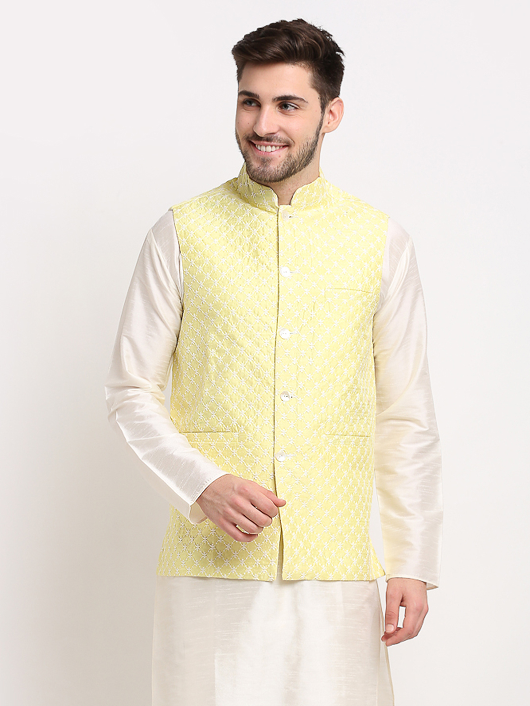 Jompers | Jompers Men's Yellow and White Embroidered Nehru Jacket