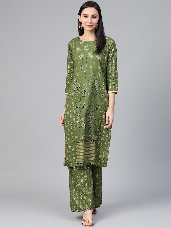 Jompers | Jompers® Women Green Kurta with pallazos