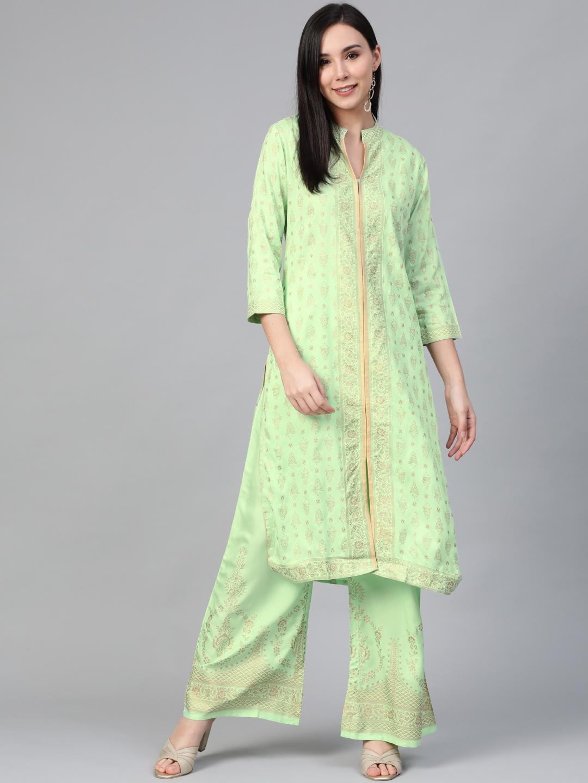Jompers | Jompers® Women Green Printed Kurta with pallazos