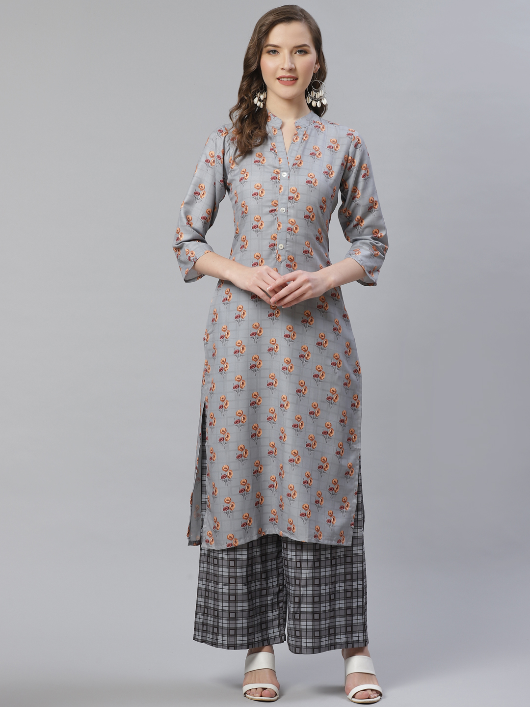 Jompers | Jompers® Women Grey & Beige Floral Printed Kurta with Palazzos