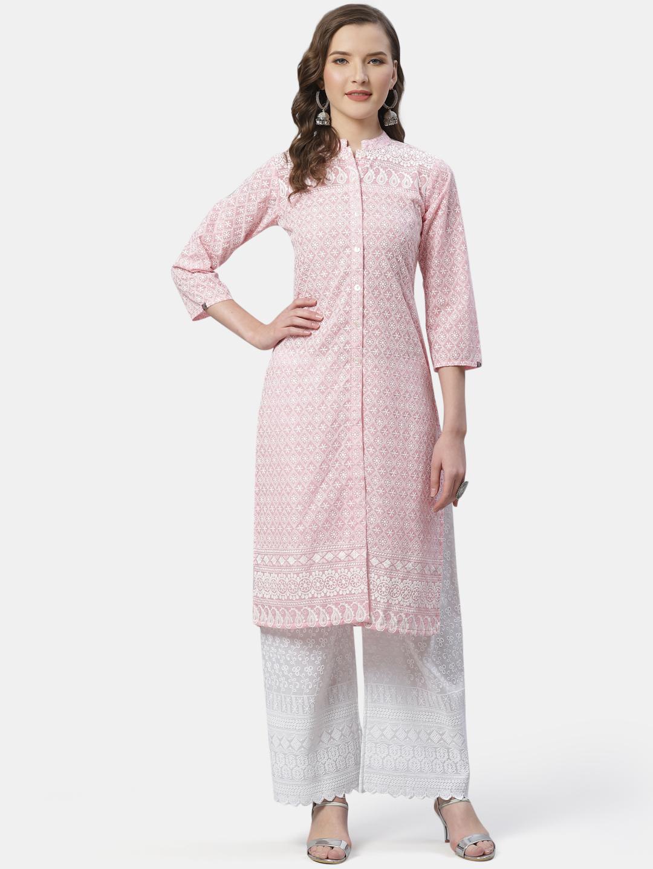 Jompers | Jompers® Women Pink & White Chikankari Embroidered Kurta with Palazzos
