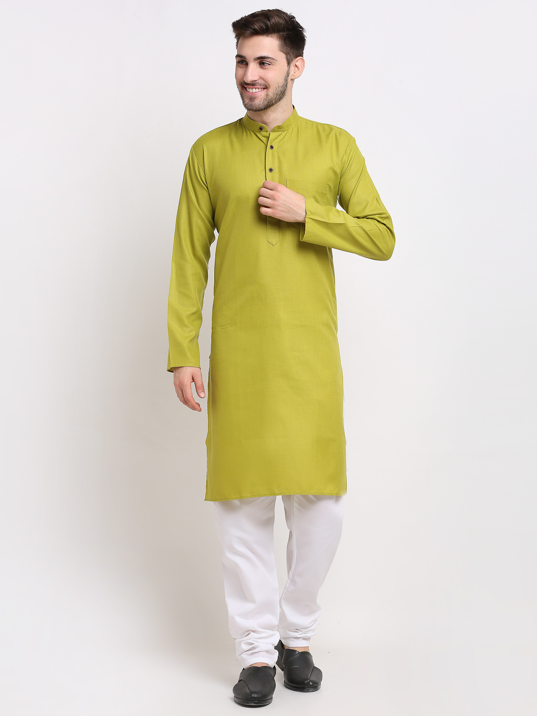 Jompers   Olive Green & White Pure Cotton Kurta with Churidar