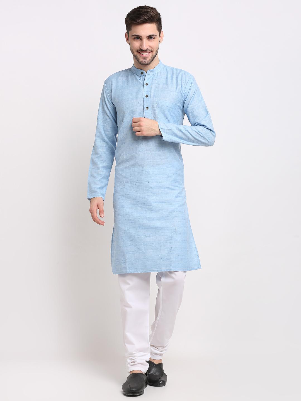 Jompers | Sky Blue Striped Kurta with Pyjamas