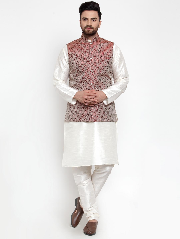 Jompers   Jompers® Men's Solid Dupion Kurta Pajama with Woven Jacquard Waistcoat