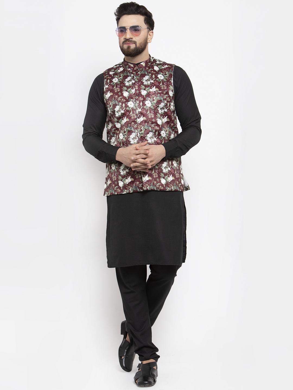 Jompers   Jompers® Men's Solid Cotton Kurta Pajama with Printed Waistcoat