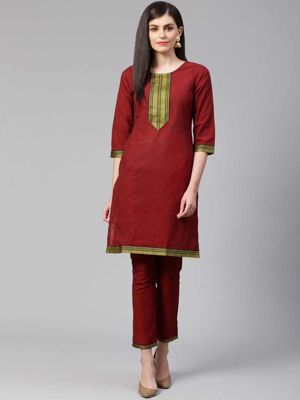 Jompers | Jompers® Women Maroon Pure Cotton Kurta with pants set