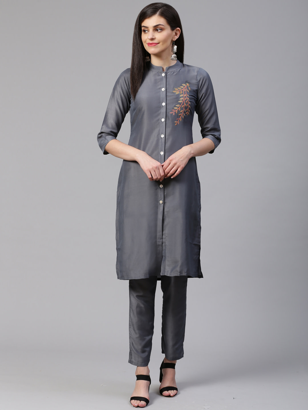 Jompers | Jompers® Women Grey Cotton Silk Embroidered Kurta with pants set