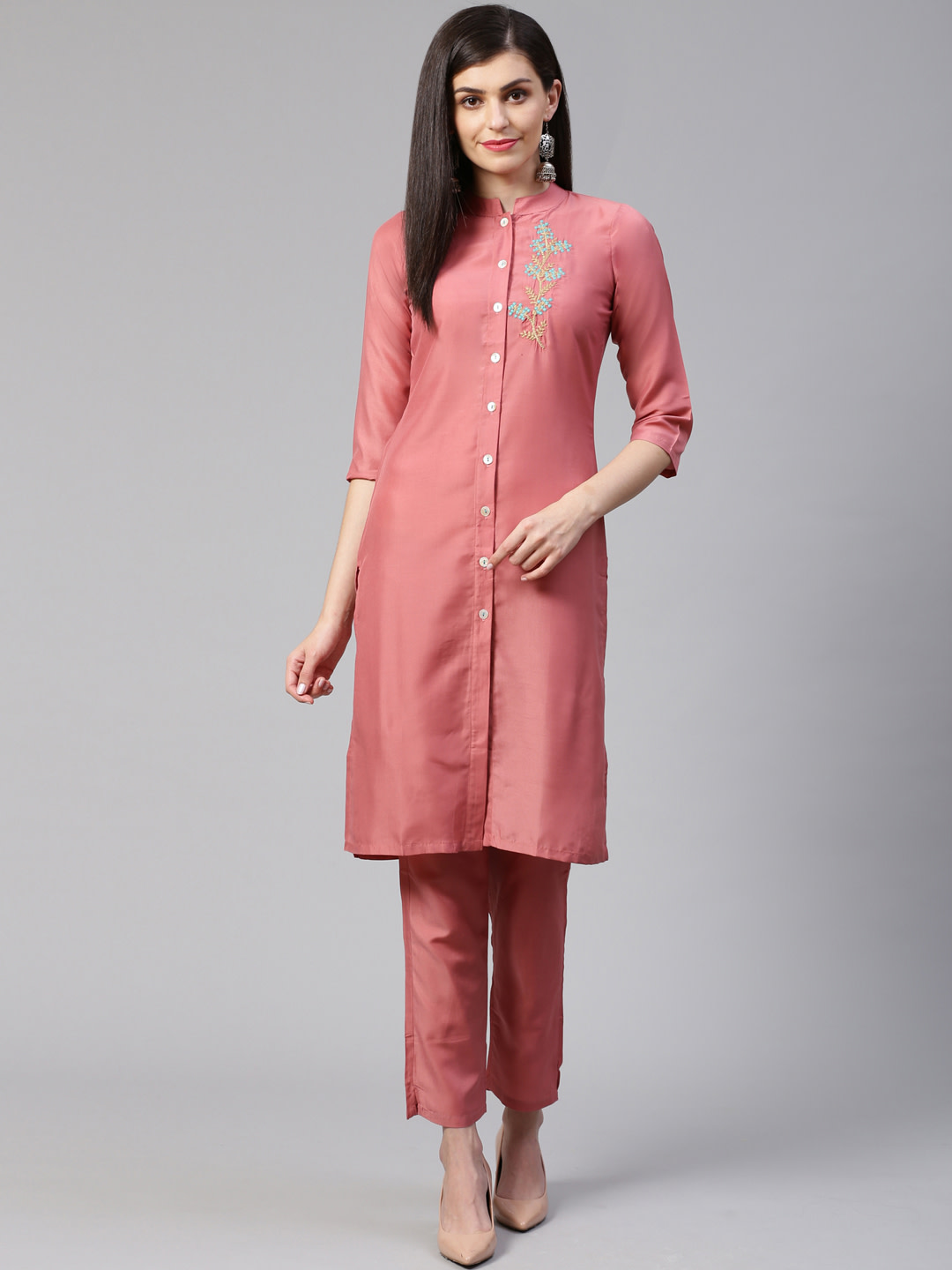 Jompers | Jompers® Women Pink Cotton Silk Embroidered Kurta with pants set
