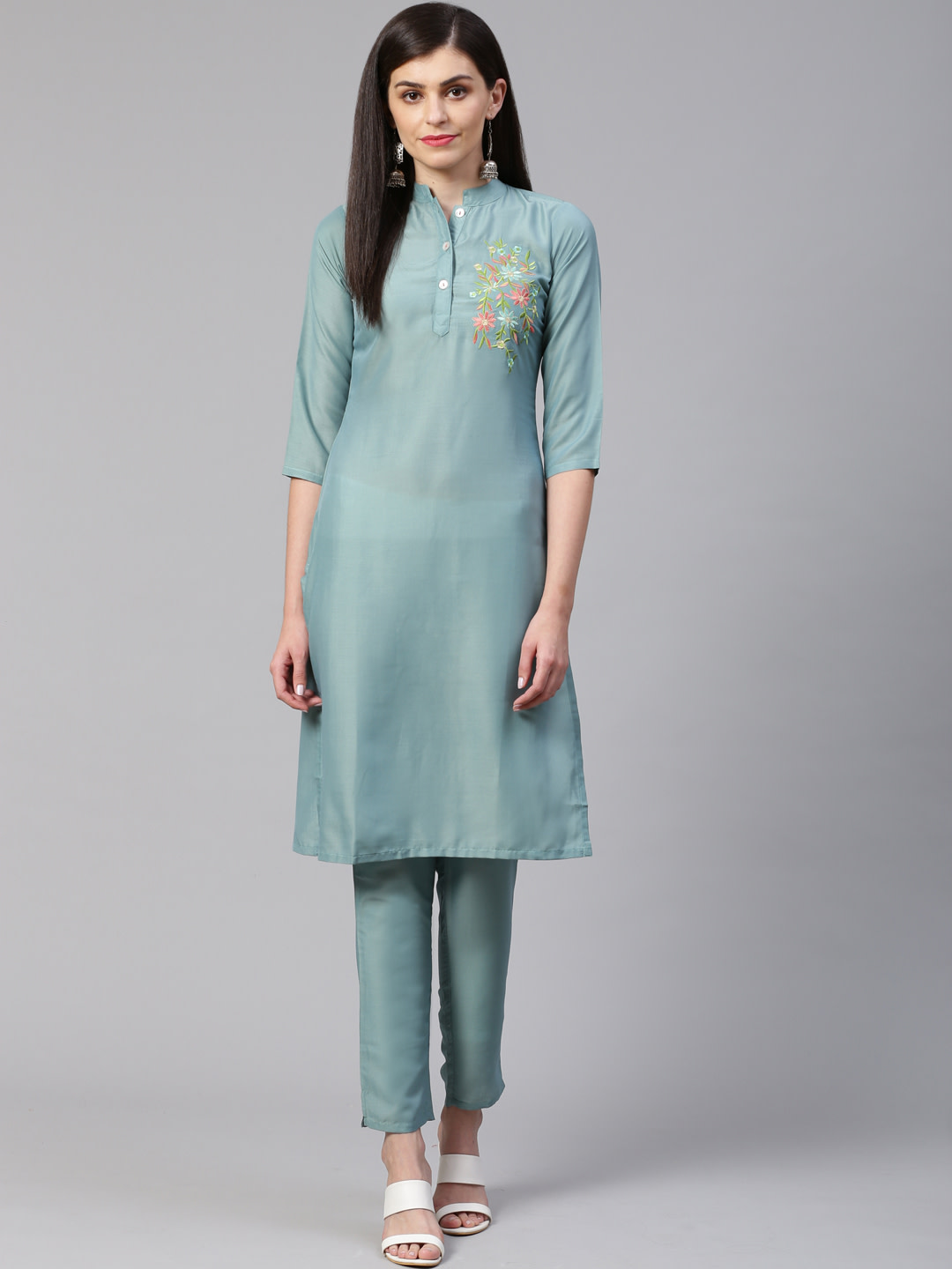 Jompers |  Jompers® Women Green Cotton Silk Embroidered Kurta with pants set