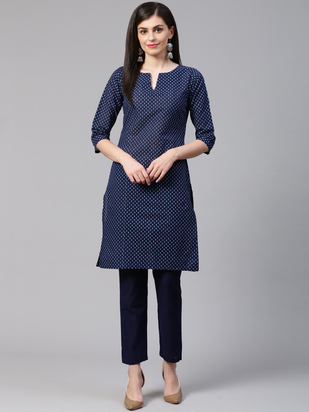 Jompers |  Jompers® Women Blue Pure Cotton Printed Kurta with pants set