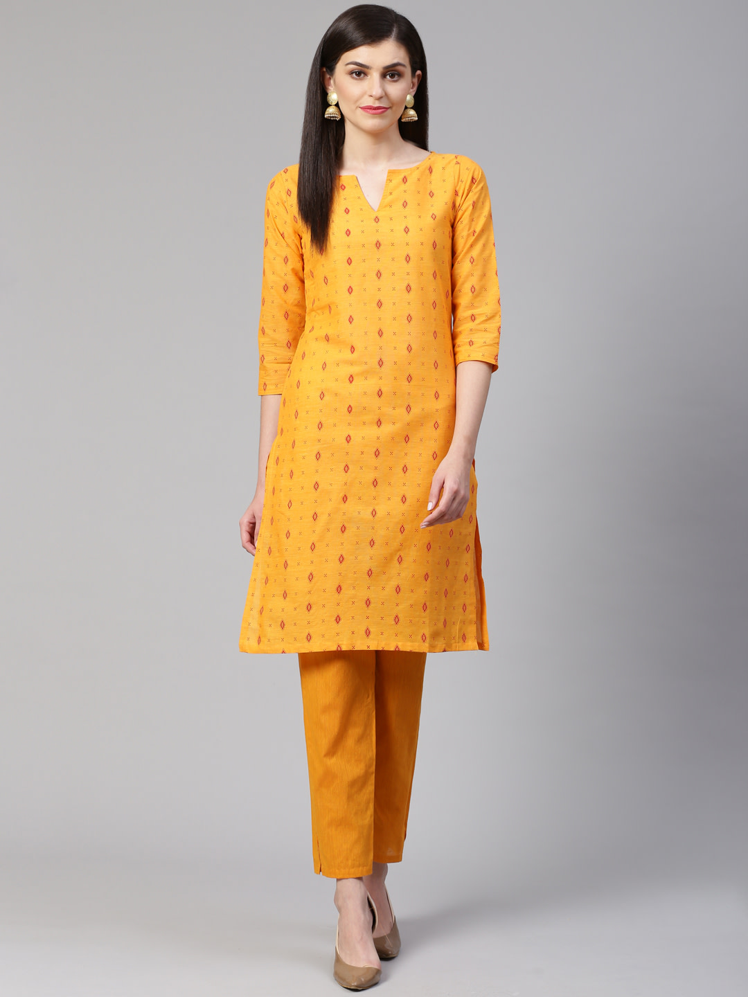 Jompers |  Jompers® Women Yellow Pure Cotton Printed Kurta with pants set