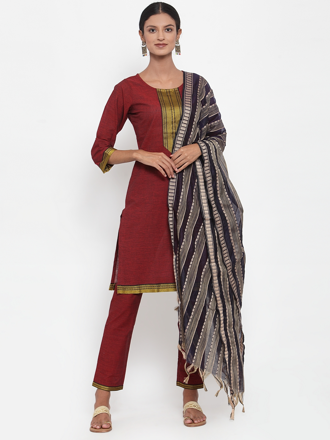 Jompers | Jompers® Women Maroon Pure Cotton Kurta with pants and woven design dupatta set