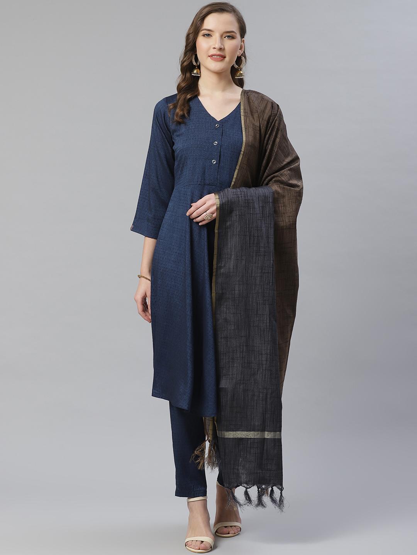 Jompers | Jompers® Women Navy Blue & Charcoal Grey Self Design Kurta with Trousers & Dupatta